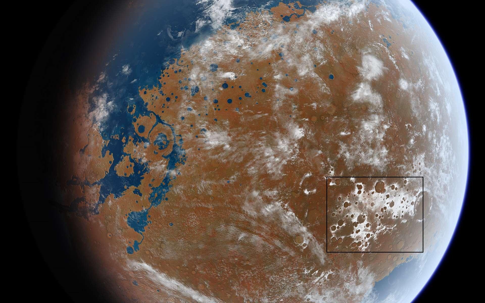 Vue d'artiste de ce à quoi ressemblait Mars il y a 4 milliards d'années, réalisée à partir des marqueurs géologiques identifiés sur la planète et des simulations climatiques. La zone encadrée correspond à la région de Terra Sabaea, où les modèles prédisent des dépôts de glace et où Alex Bouquety et ses collègues ont effectivement découvert des paysages glaciaires anciens. © Ittiz, CC by-sa 3.0