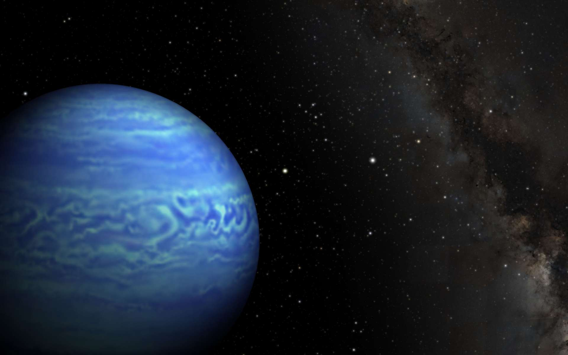 Illustration de WISE J085510.83-071442.5, minuscule étoile de type naine brune. Il s'agit du cas le plus froid connu à ce jour et de la quatrième étoile la plus proche de nous. À sa droite, le point lumineux n'est autre que notre Soleil, distant de seulement 7,2 années-lumière. © Robert Hurt, JPL, Janella Williams, université de Pennsylvanie