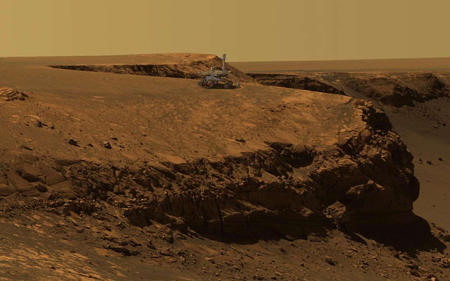 Sur cette photo du cratère Victoria prise par Opportunity, le rover a été rajouté. © Nasa, JPL-Solar System Visualization Team