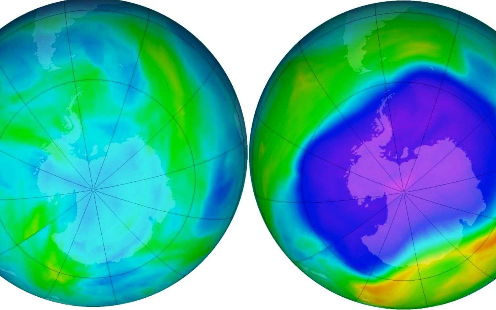 Le trou dans la couche d'ozone au-dessus de l'Antarctique s'ouvre et se ferme au gré des saisons. Durant l'hiver austral, l'ozone stratosphérique est en quantité normale (l'image de gauche montre la situation en avril 2006). La quasi-totalité se trouve détruite chaque année au printemps austral (comme sur l'image de droite, en septembre 2006). L'épaisseur totale d'ozone est alors diminuée de moitié. Une diminution de l'ozone se produit également, mais avec une moindre amplitude, au printemps boréal au-dessus de l'Arctique. © NOAA, KNMI, ESA