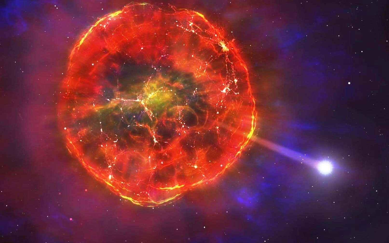 Sur cette vue d'artiste, la matière éjectée par une supernova SN Ia se dilate initialement très rapidement, mais ralentit ensuite progressivement, formant une bulle géante complexe de gaz incandescent et chaud. Finalement, la naine blanche qui a partiellement explosé (voir l'article) et qui a été éjectée de son système binaire, dépasse ces couches gazeuses et débute son voyage à travers la Galaxie. © University of Warwick, Mark Garlick