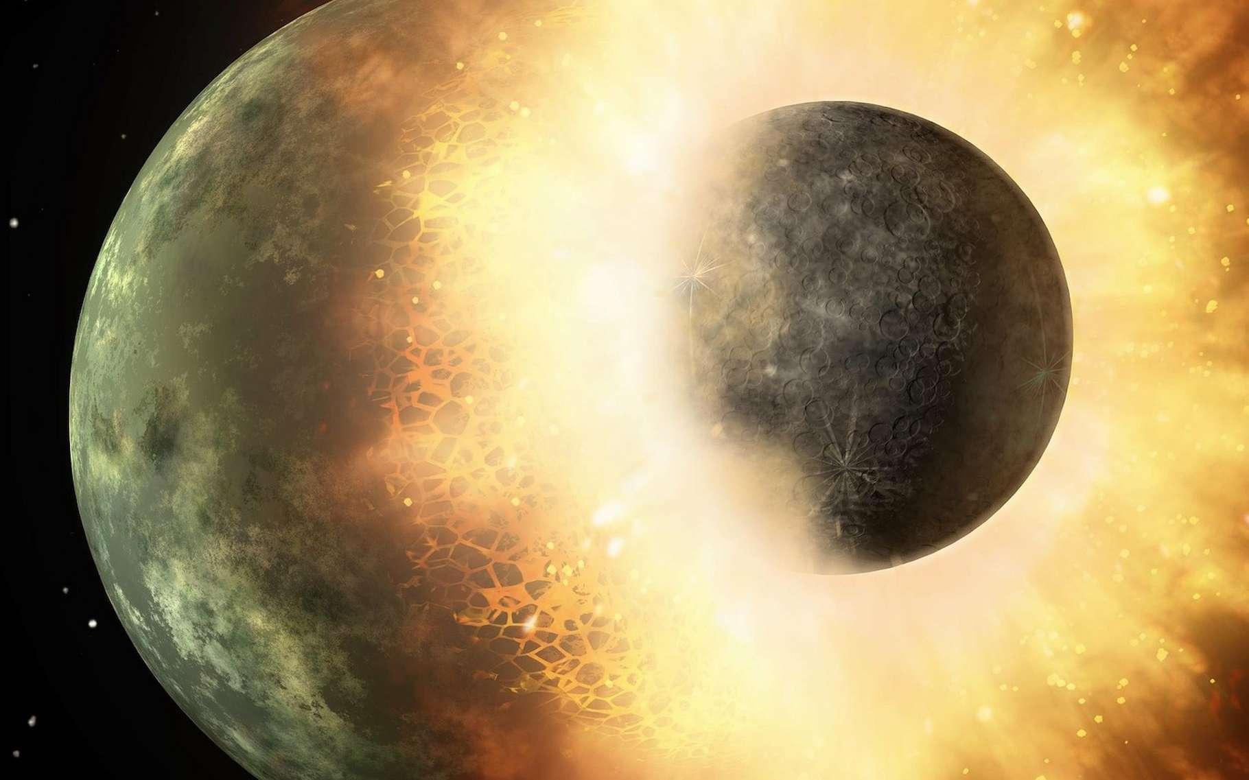 Selon des chercheurs de la Rice University de Houston (États-Unis), une collision planétaire est à l'origine de l'apparition sur Terre des substances volatiles essentielles à l'émergence de la vie. © Nasa-Imagery, Pixabay, CC0 Creative Commons