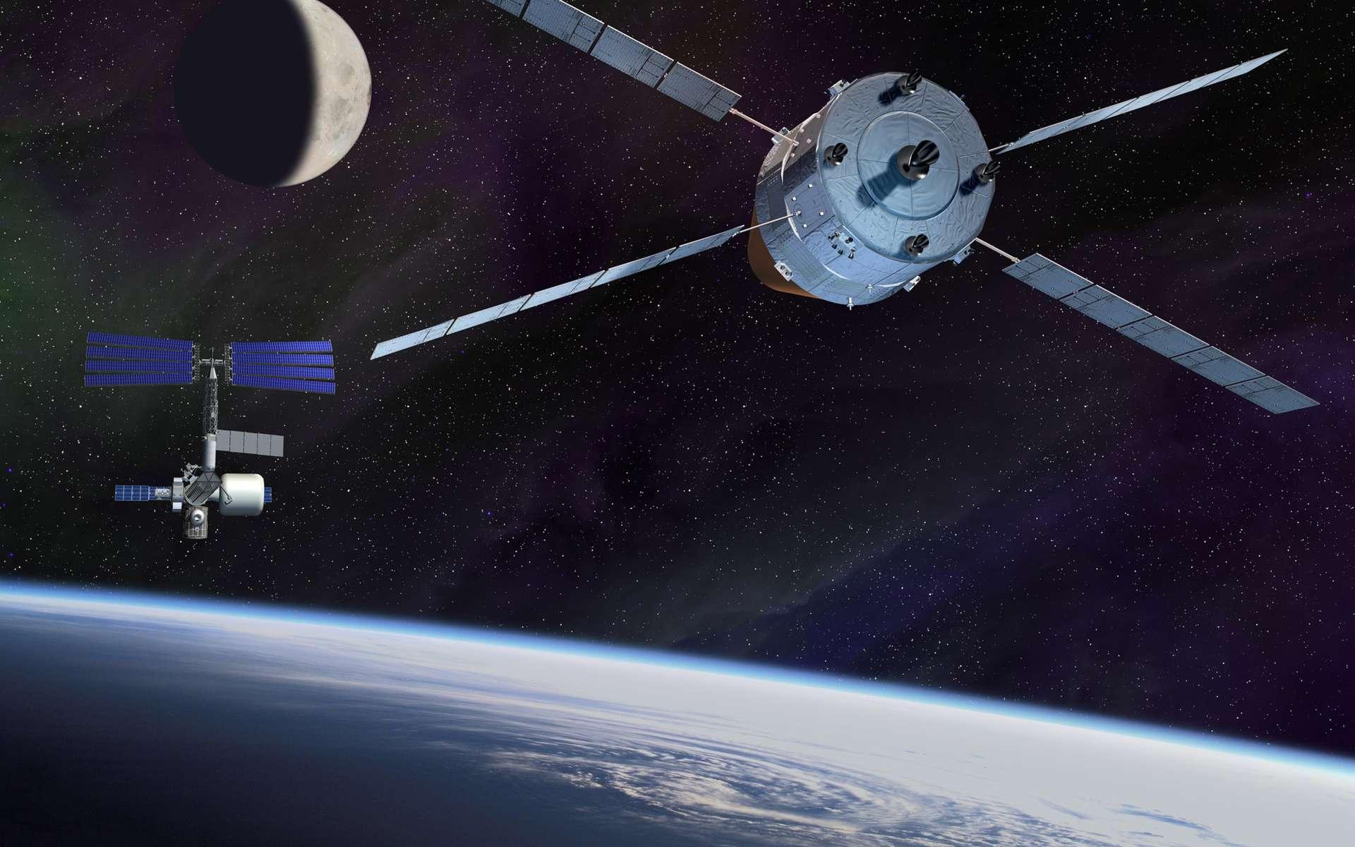 Festival de technologies, l'ATV est un engin automatique qui répond aux normes exigées pour le vol habité. L'Esa, comme le Cnes, veut capitaliser sur ce programme et planche sur des évolutions qui pourraient donner naissance à des programmes de retour d'orbite, de capture d'objets orbitaux ou une participation au futur véhicule spatial de la Nasa. © Esa