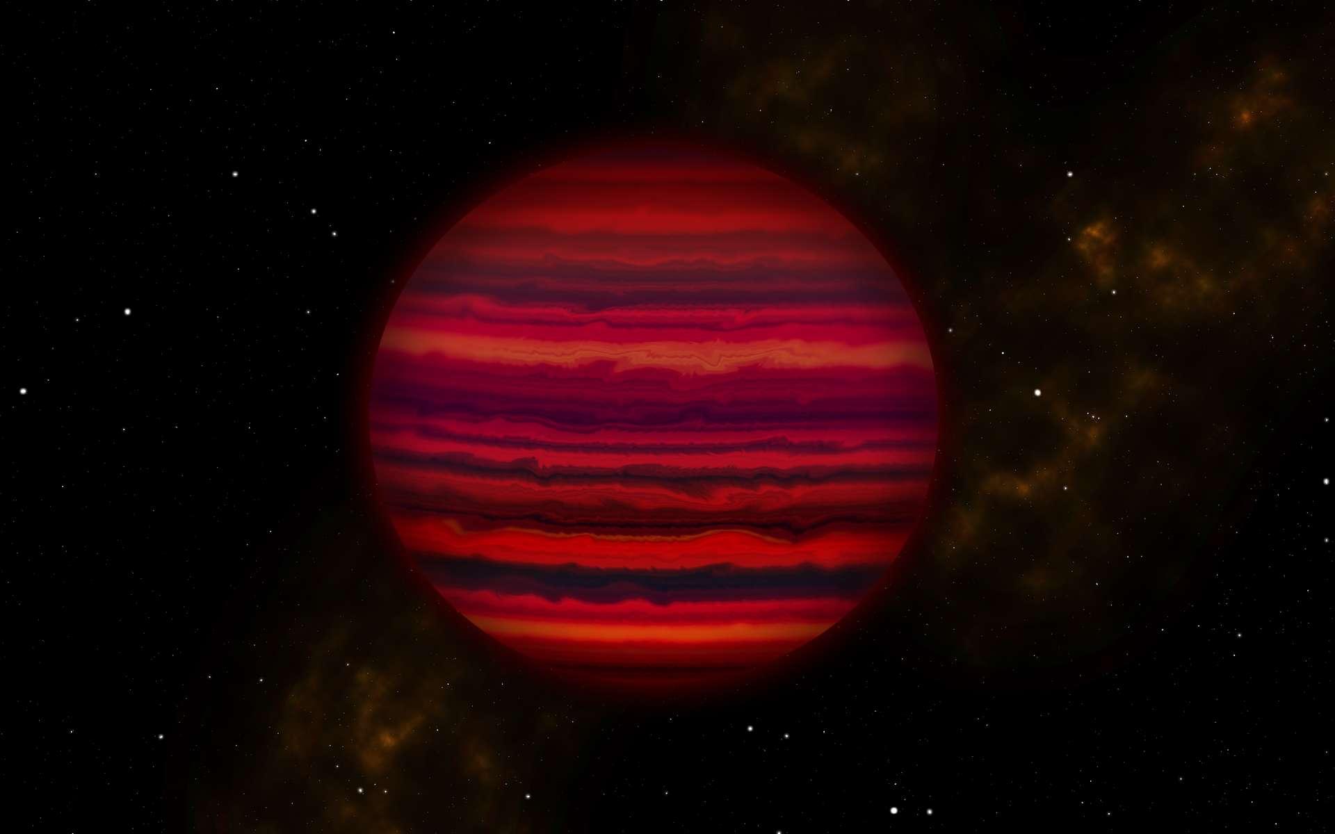 Vue d'artiste de Wise 0855, la quatrième étoile la plus proche du Soleil, comme si nous pouvions la voir de près dans l'infrarouge. C'est en fait une naine brune, qui ne brille pas dans le visible. © Joy Pollard, Gemini Observatory, Aura