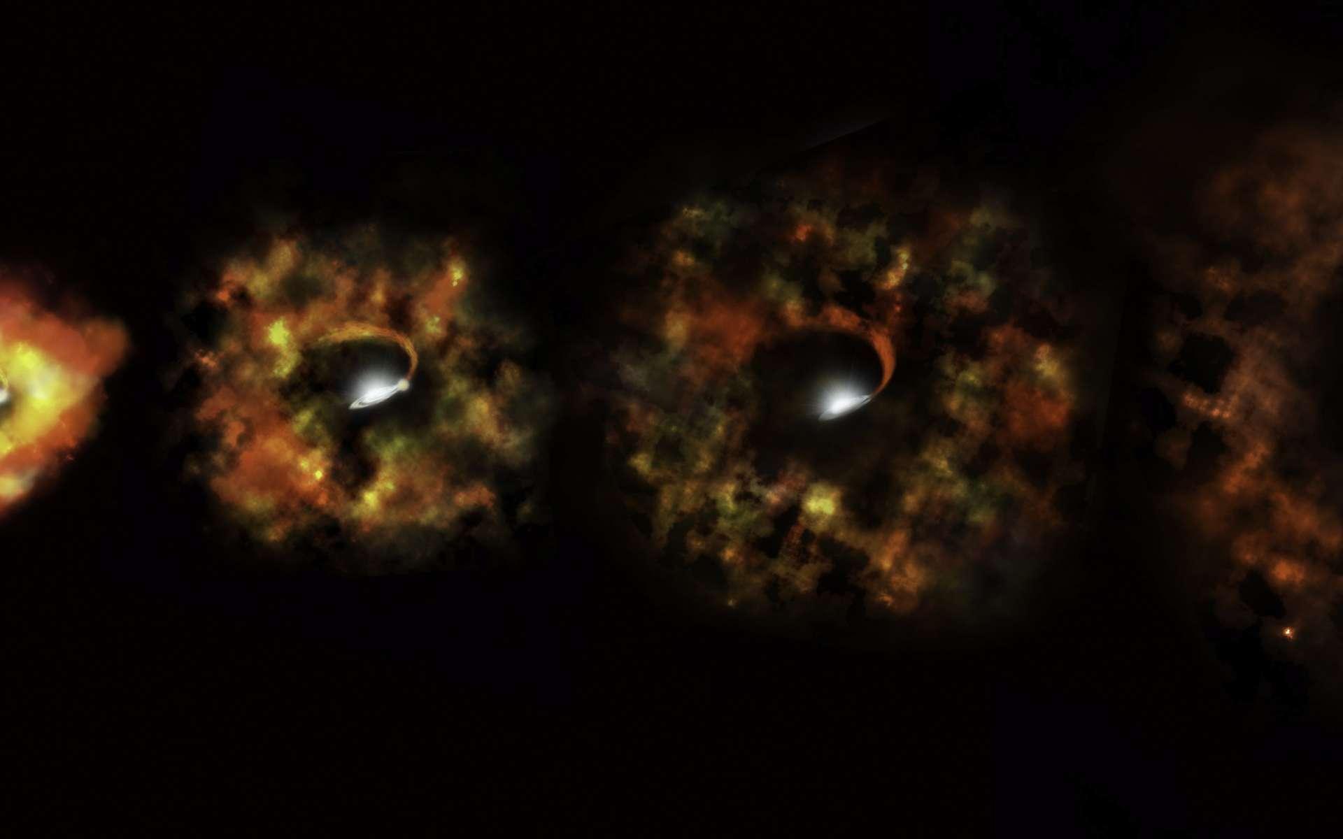 Une vue d'artiste de la formation supernova ratée avec N6946-BH1 qui est en fait devenue presque directement un trou noir. La supergéante rouge aurait bien explosé mais la majorité de sa matière n'aurait pas été éjectée, devenant un trou noir accrétant la matière restante et brillant dans le domaine des rayons X. © Nasa, ESA et P. Jeffries (STScI)