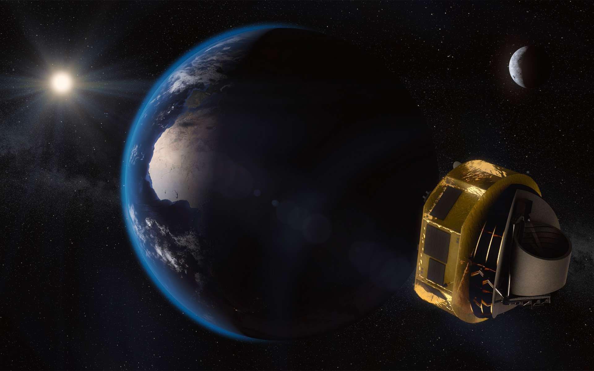 Vue d'artiste du satellite Ariel, dont l'équipe industrielle qui le réalisera n'a pas encore été choisie. On voit le bouclier thermique du satellite le protégeant du Soleil. © ESA, Ariel Science Team