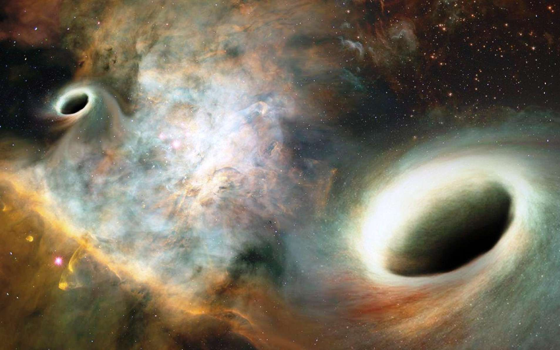 Une vue d'artiste de deux trous noirs supermassifs très rapprochés et en orbite l'un autour de l'autre. © Joshua Valenzuela, UNM
