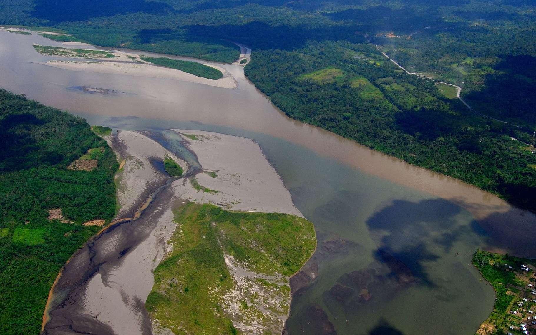 La première remontée complète de l'Amazone par les Européens fut celle de l'expédition menée en 1638 par Pedro Texeira, un Portugais, qui emprunta le Rio Napo (ici en photo), l'un des affluents, pour atteindre Quito, en Équateur. Ailleurs, le confluent du rio Solimões (aux eaux boueuses) et du Rio Negro (aux eaux noires) est remarquable par les teintes très contrastées, les eaux ne se mélangeant qu'après des dizaines de kilomètres. © Rio NAPO Amazonia, Wikimedia Commons, cc by sa 2.0
