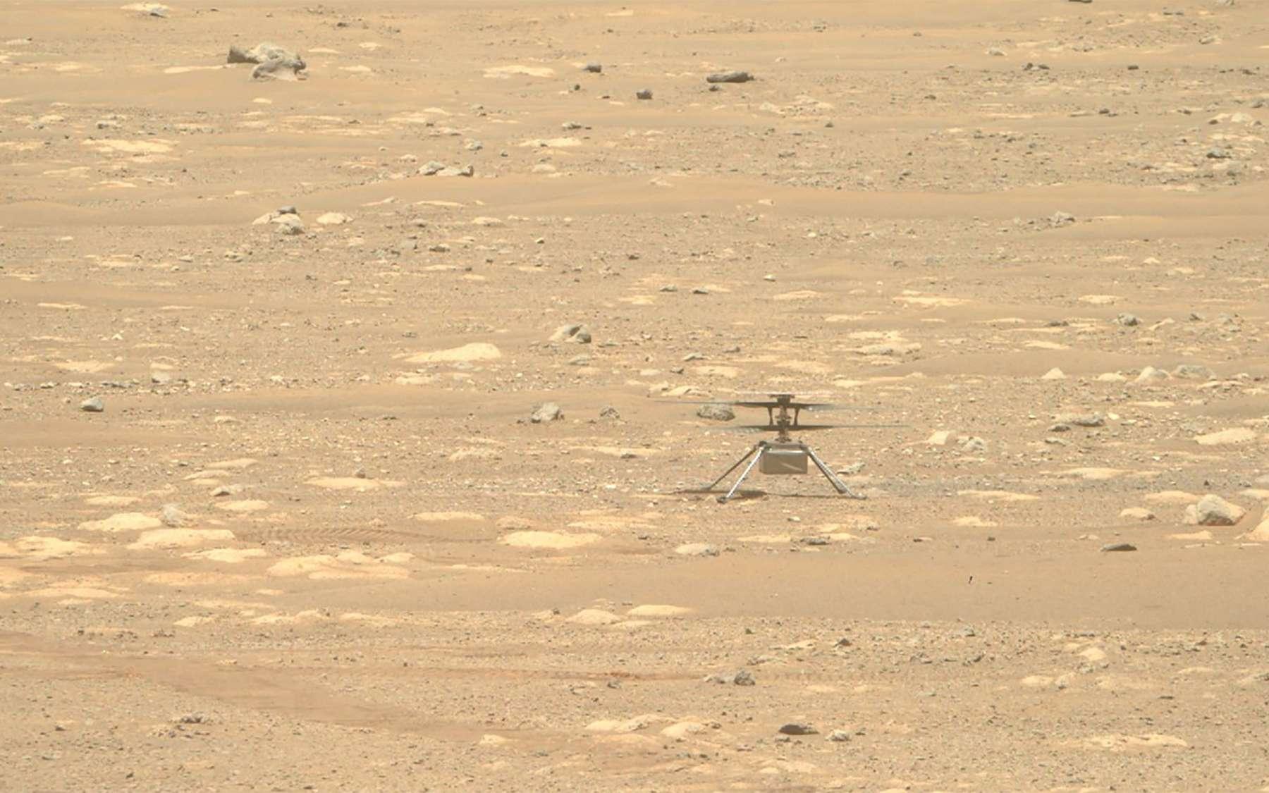 Ingenuity sur le sol de Mars. Image acquise le 28 avril par une des caméras Mastcam de Perseverance. © Nasa, JPL-Caltech, ASU