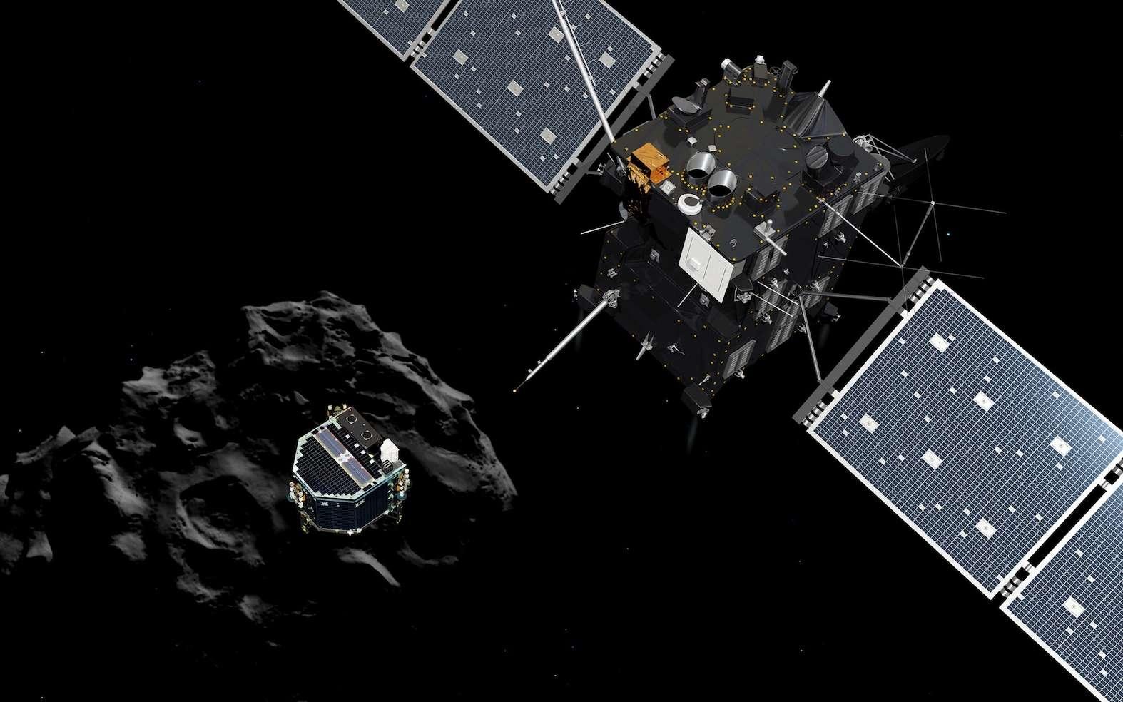 Illustration de Philae, libéré de Rosetta, descendant en chute libre vers le noyau cométaire. Le 30 septembre 2016, la sonde spatiale qui accompagne Tchouri depuis août 2014, ira se poser dans la région Ma'at. © Esa