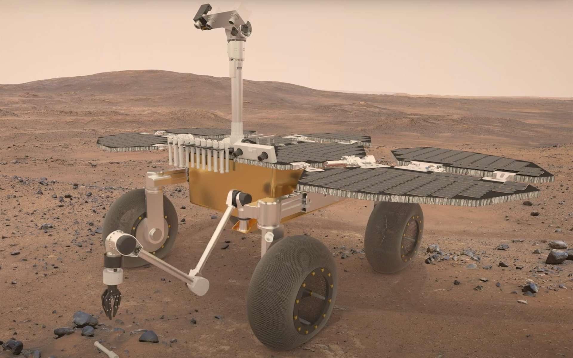 Vue d'artiste du Fetch rover de la mission de retour d'échantillons martiens de la Nasa et de l'ESA. Ce rover, réalisé par Airbus, aura pour unique tâche la récupération des échantillons de la Planète rouge collectés par Perseverance qui les aura logés dans des petits tubes en métal et déposés sur la surface de Mars. © ESA