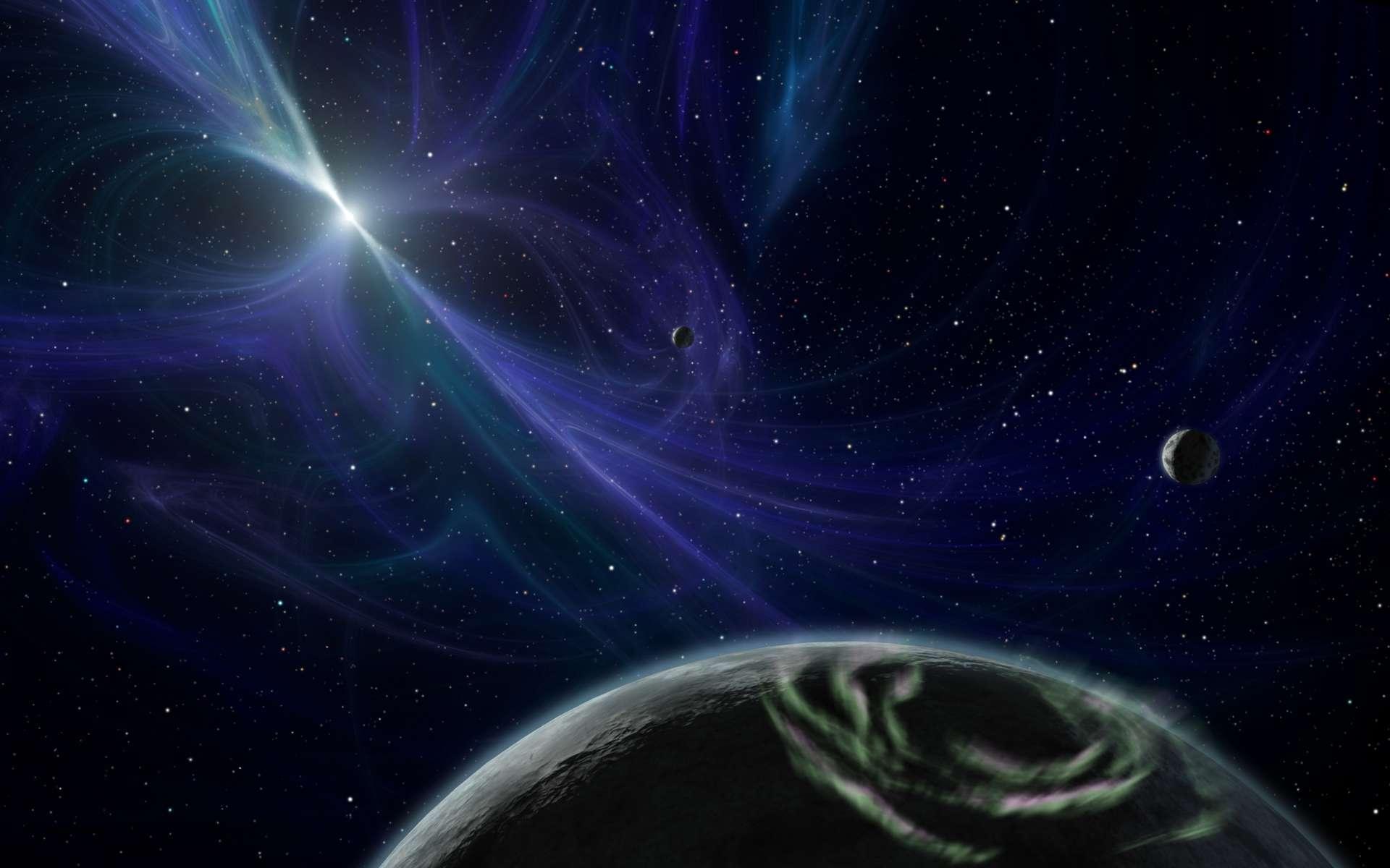 Une vue d'artiste des trois exoplanètes, dont deux superterres, autour du pulsar PSR B1257+12. © Nasa