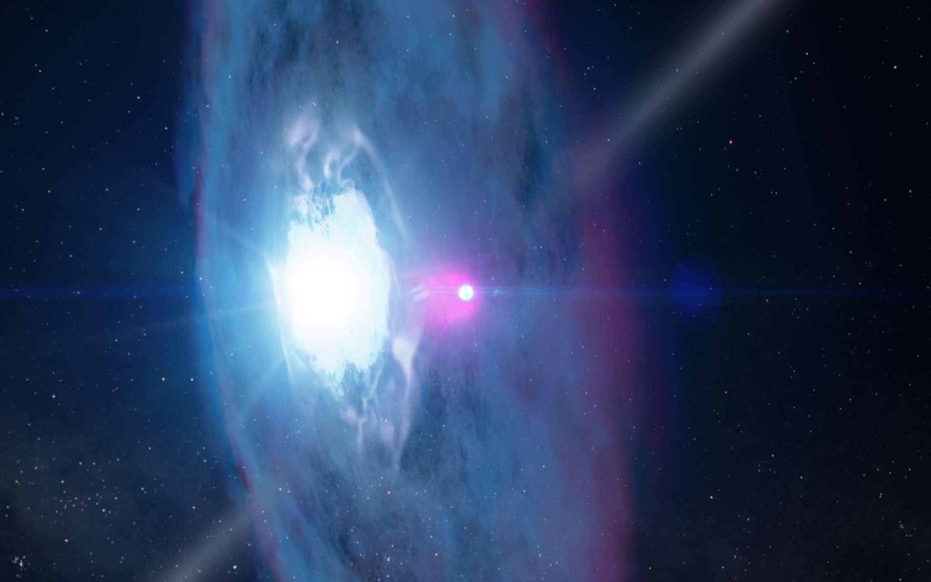 Illustration du pulsar J2032 pénétrant l'environnement de son compagnon, la géante bleue MT91 213. Le phénomène se produira en 2018 et occasionnera un remarquable feu d'artifice qui sera disséqué dans toutes les longueurs d'onde par de nombreux astrophysiciens. © Nasa, GSFC