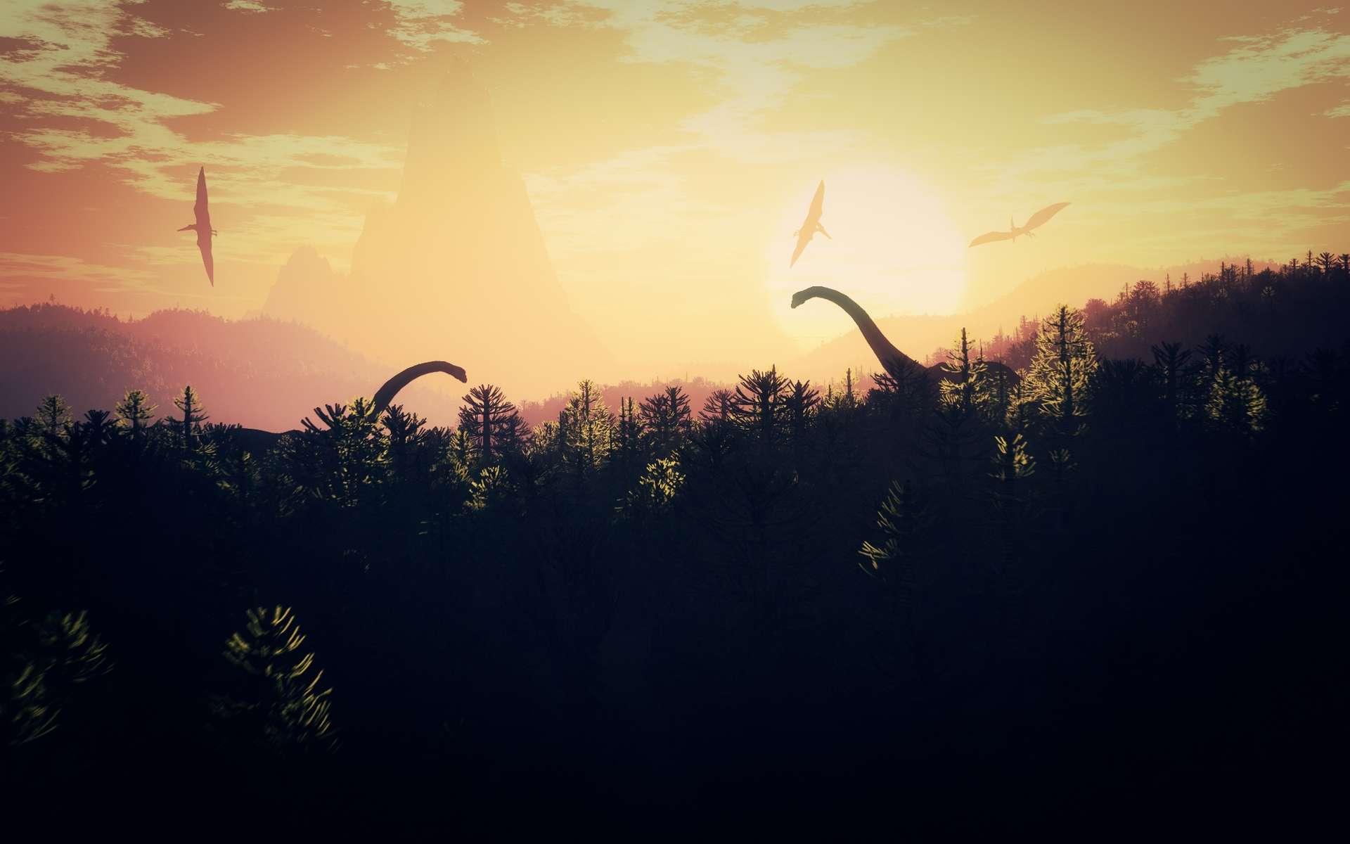 Une vue d'artiste du monde des dinosaures avant qu'ils ne disparaissent au Crétacé. © boscorelli, shutterstock