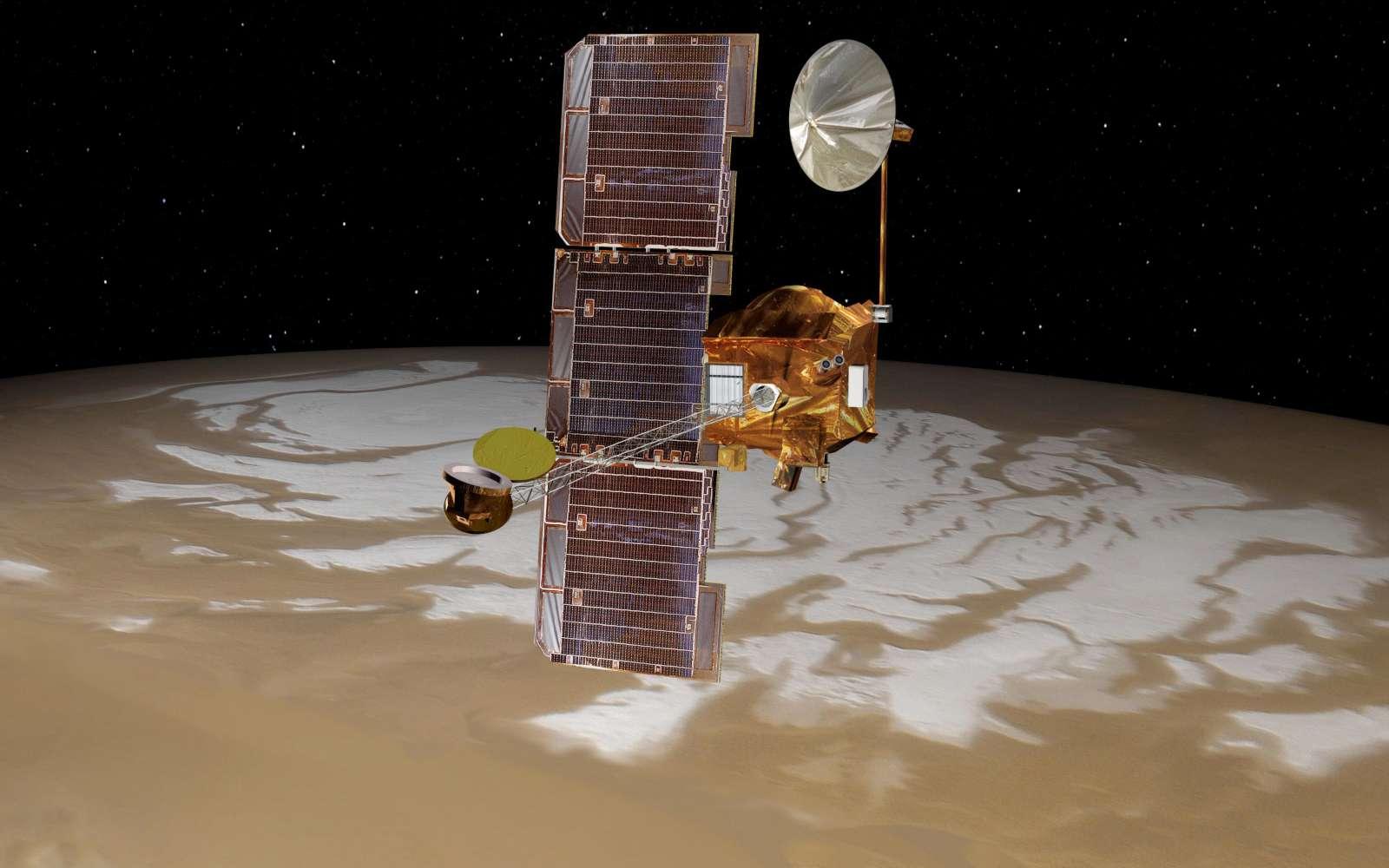 La sonde Mars Odyssey a un aspect caractéristique, avec son mât de six mètres à l'extrémité duquel se trouve le spectromètre gamma de la sonde. Un nouveau changement de son orbite est en cours, et sera finalisé en novembre 2015. © Nasa, JPL