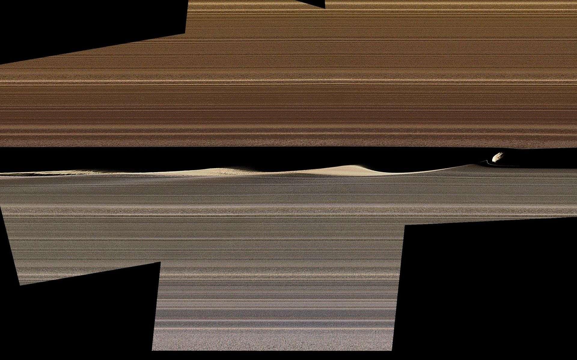 Les effets de Daphnis sur les anneaux de Saturne. © Nasa, JPL-Caltech, Space Science Institute