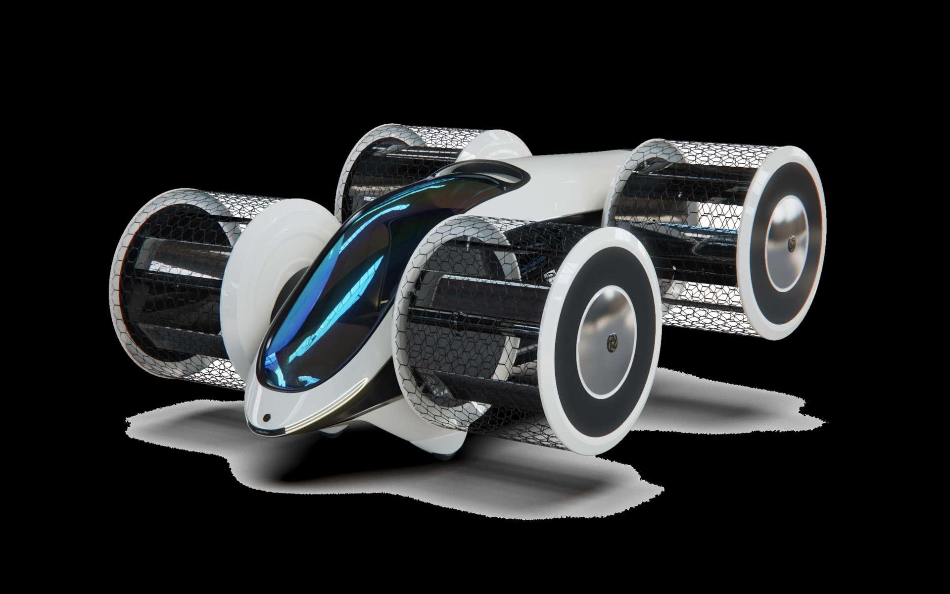 Cet engin aux allures de Formule 1 vole à 250 km/h et peut accueillir jusqu'à six personnes. © Fondation pour la Recherche Avancée