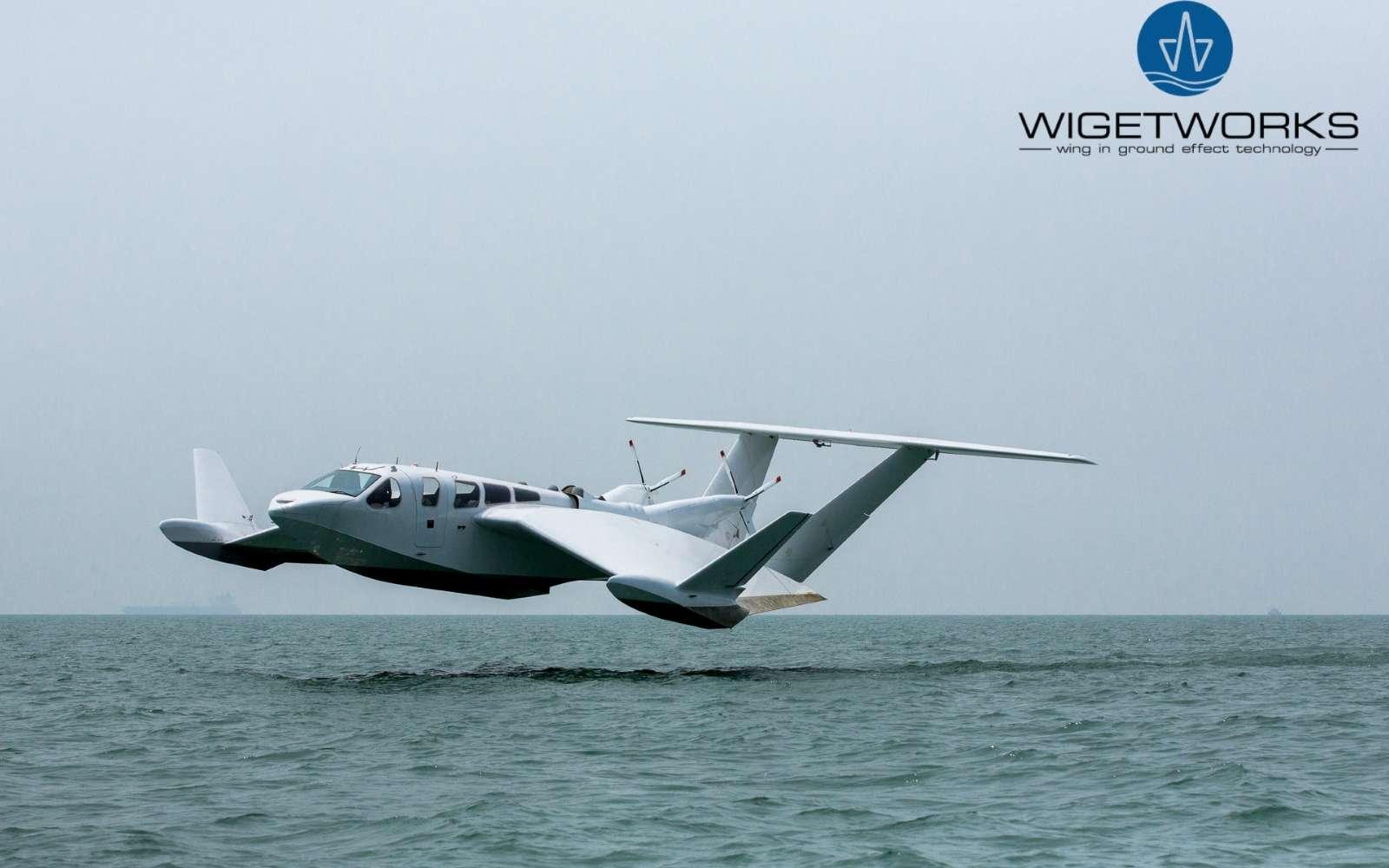 Grâce au design de ses ailes et de son fuselage, l'appareil exploite le phénomène aérodynamique d'effet de sol (Wing-in-ground) sur une surface plane et, idéalement, une étendue d'eau en raison de l'absence d'obstacles. © Wigetworks
