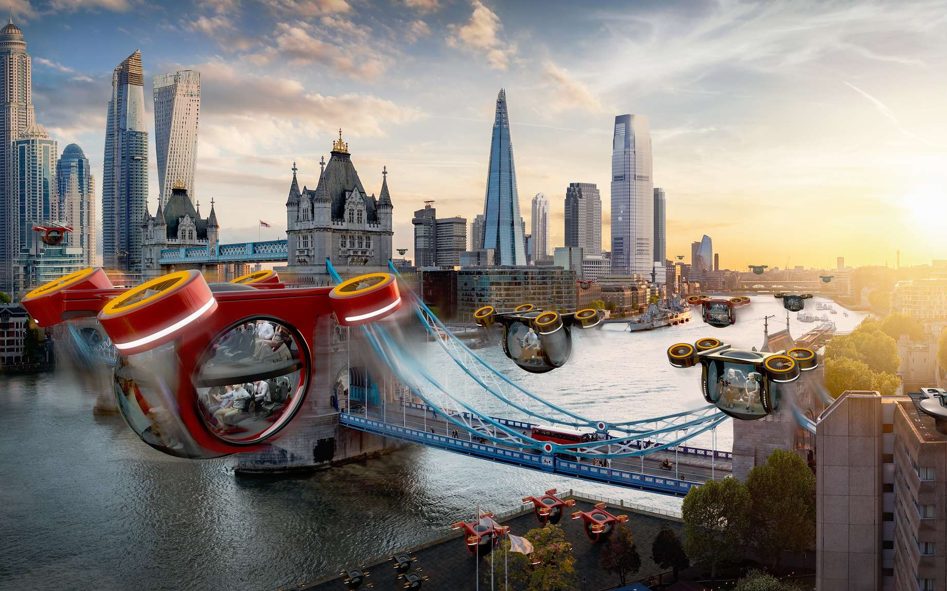 En 2069, le drone-taxi sera un mode de transport courant. © Samsung KX50 report