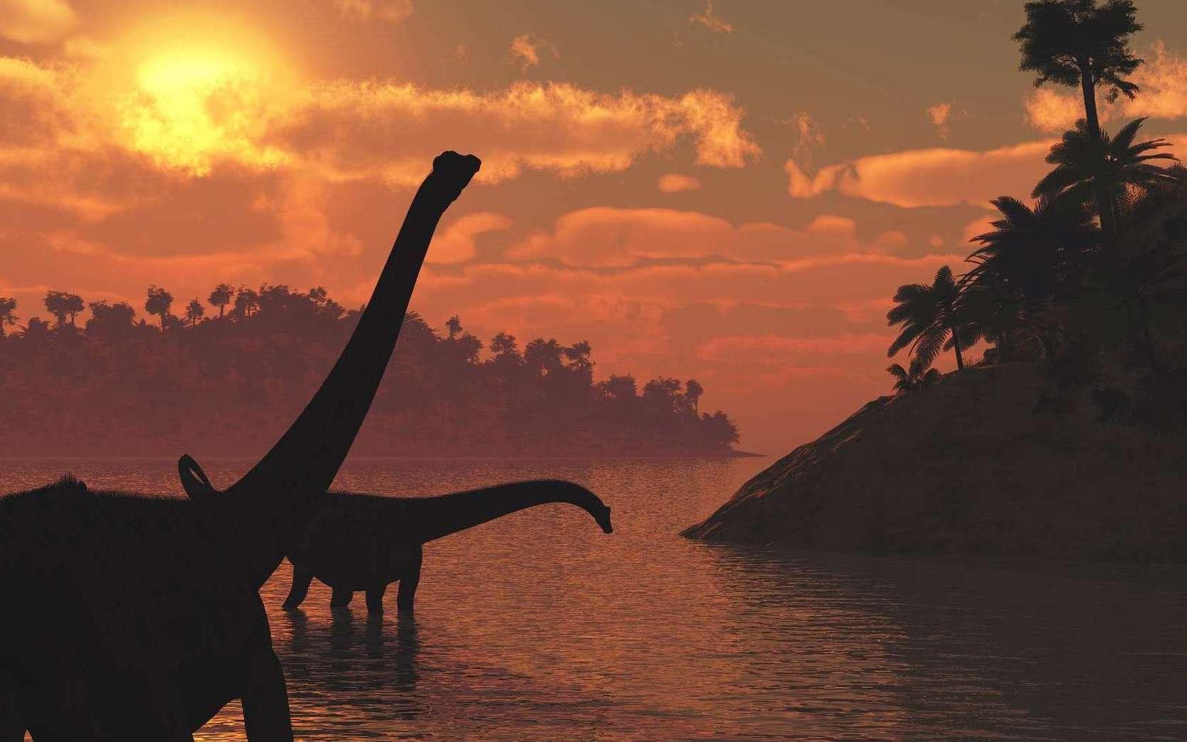 Empreintes de dinosaures : la plus longue piste de sauropode est en France ! Ici, des sauropodes au Jurassique. © Linda Bucklin, Shutterstock