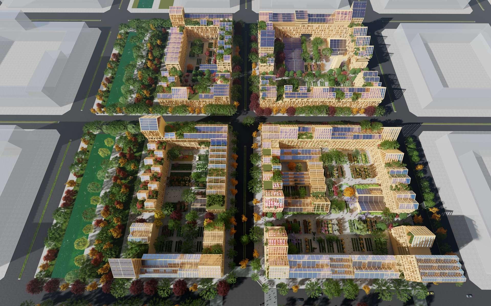 Le modèle de ville est organisé en quatre blocs pouvant accueillir 3.000 habitants. © Guallart architects