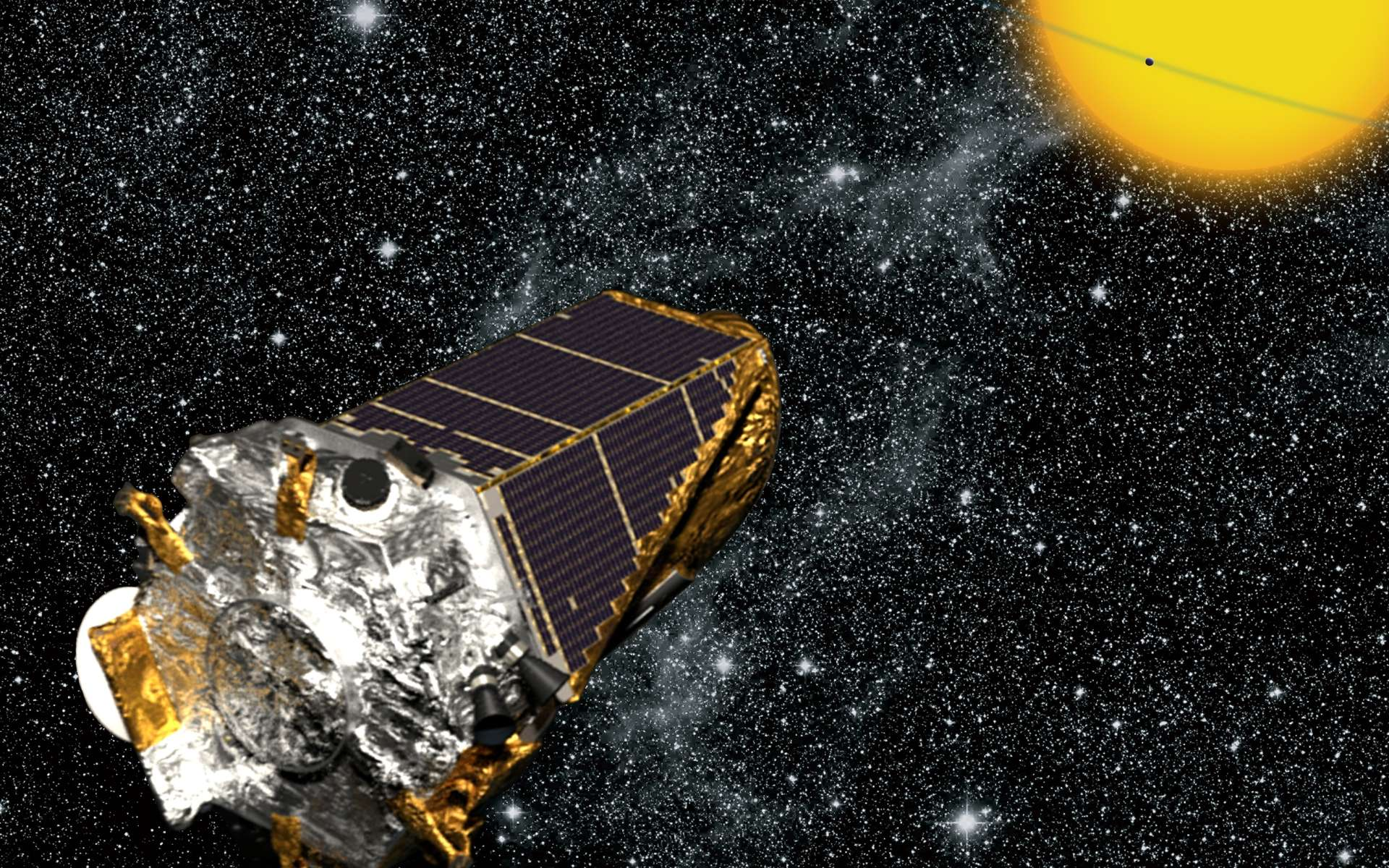Des astrophysiciens ont pu étudier des étoiles situées dans de vieux amas ouverts. Ils ont découvert qu'un nombre anormalement élevé de ces étoiles avaient des axes de rotation presque parallèles. Ici, une vue d'artiste de Kepler observant les transits planétaires. © Nasa