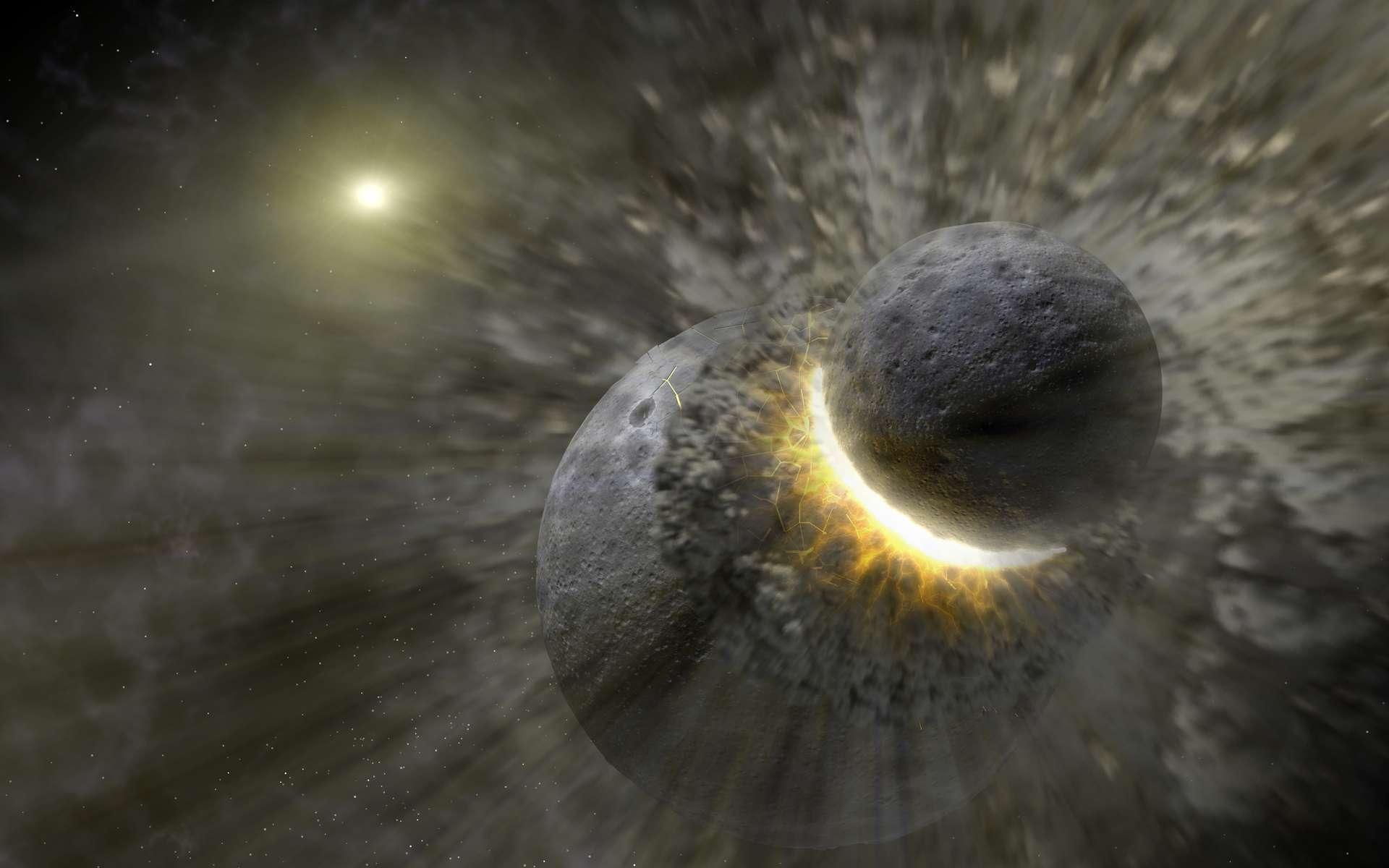 Que se passe-t-il quand deux astres entrent en collision ? Cette vue d'artiste reflète l'ampleur du phénomène : la formation d'un cercle massif de poussière. Elle représente des objets de la taille de Pluton près de l'étoile Véga. © Nasa, JPL-Caltech, T. Pyle (SSC/Caltech), Wikimedia Commons, DP