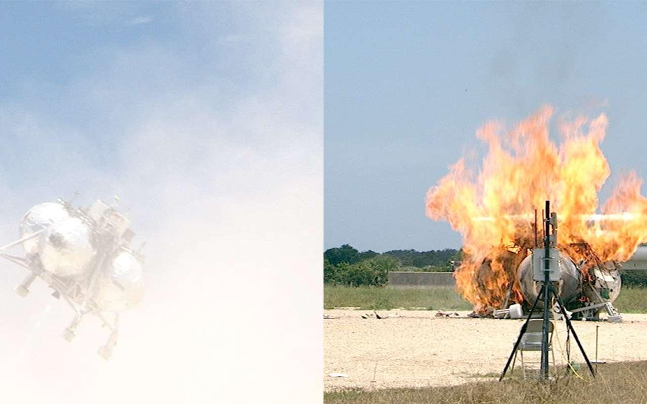 Après avoir perdu toute capacité à se stabiliser en vol, Morpheus, un prototype d'atterrisseur lunaire, s'est écrasé au sol sans faire de victime. © Nasa