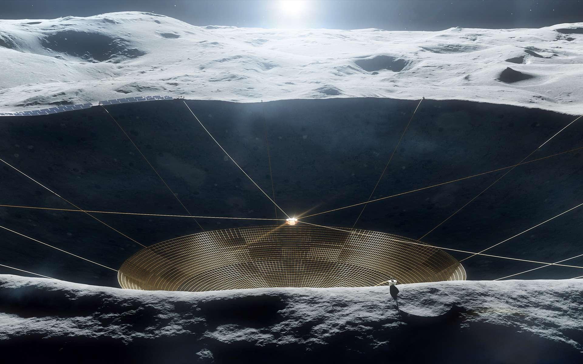 Concept d'un radiotélescope installé dans un cratère lunaire. © Vladimir Vustyansky