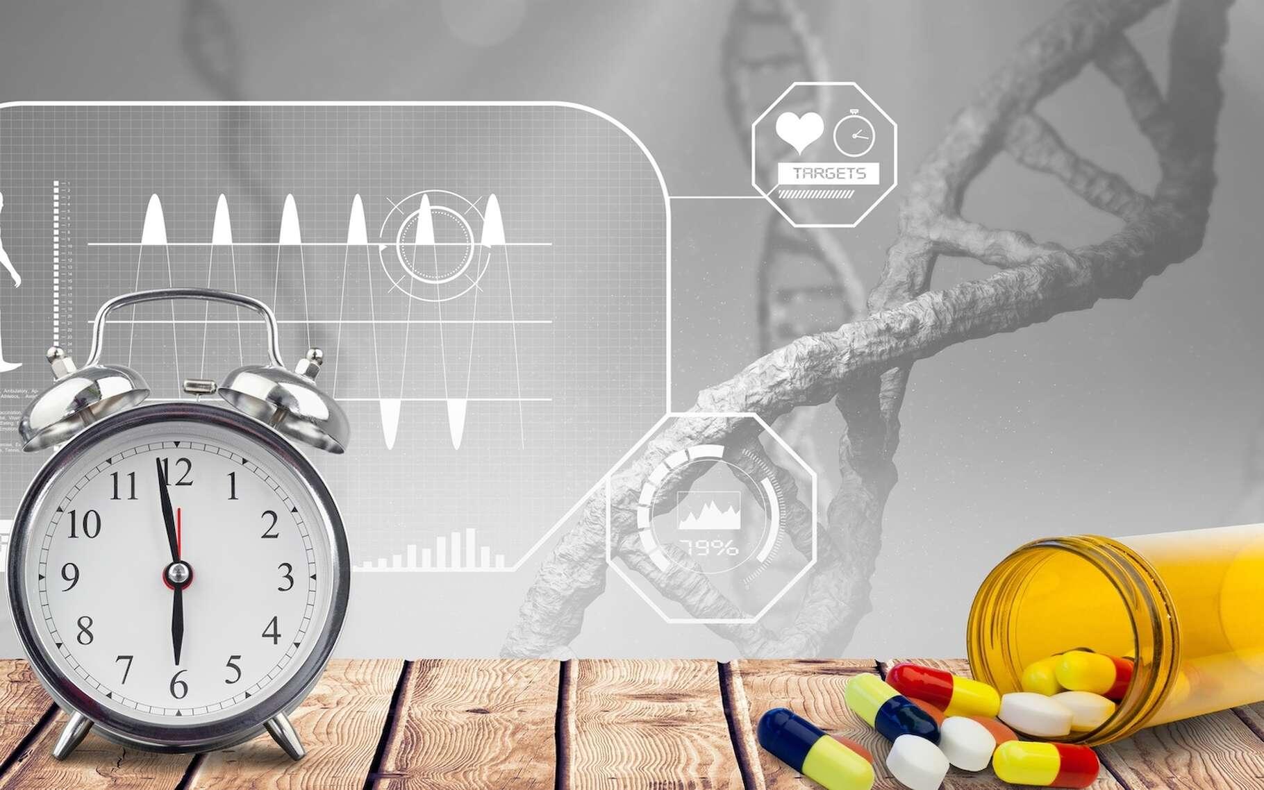 Des chercheurs de l'université de Pennsylvanie (États-Unis) ont identifié un mécanisme lié à la perturbation du rythme circadien qui pourrait être responsable de la croissance tumorale. Ils montrent ainsi que le traitement du cancer pourrait être plus efficace à certains moments précis de la journée. © vectorfusionart, Fotolia