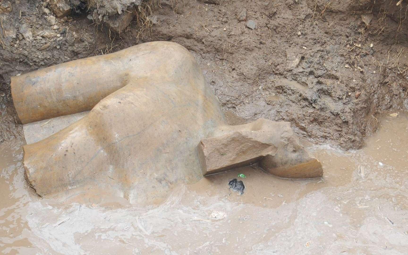 Près du Caire, sur le site de l'antique cité Héliopolis, une statue apparaît dans la boue : est-ce Ramssès II ? © Ministère égyptien des antiquités et Dietrich Raue
