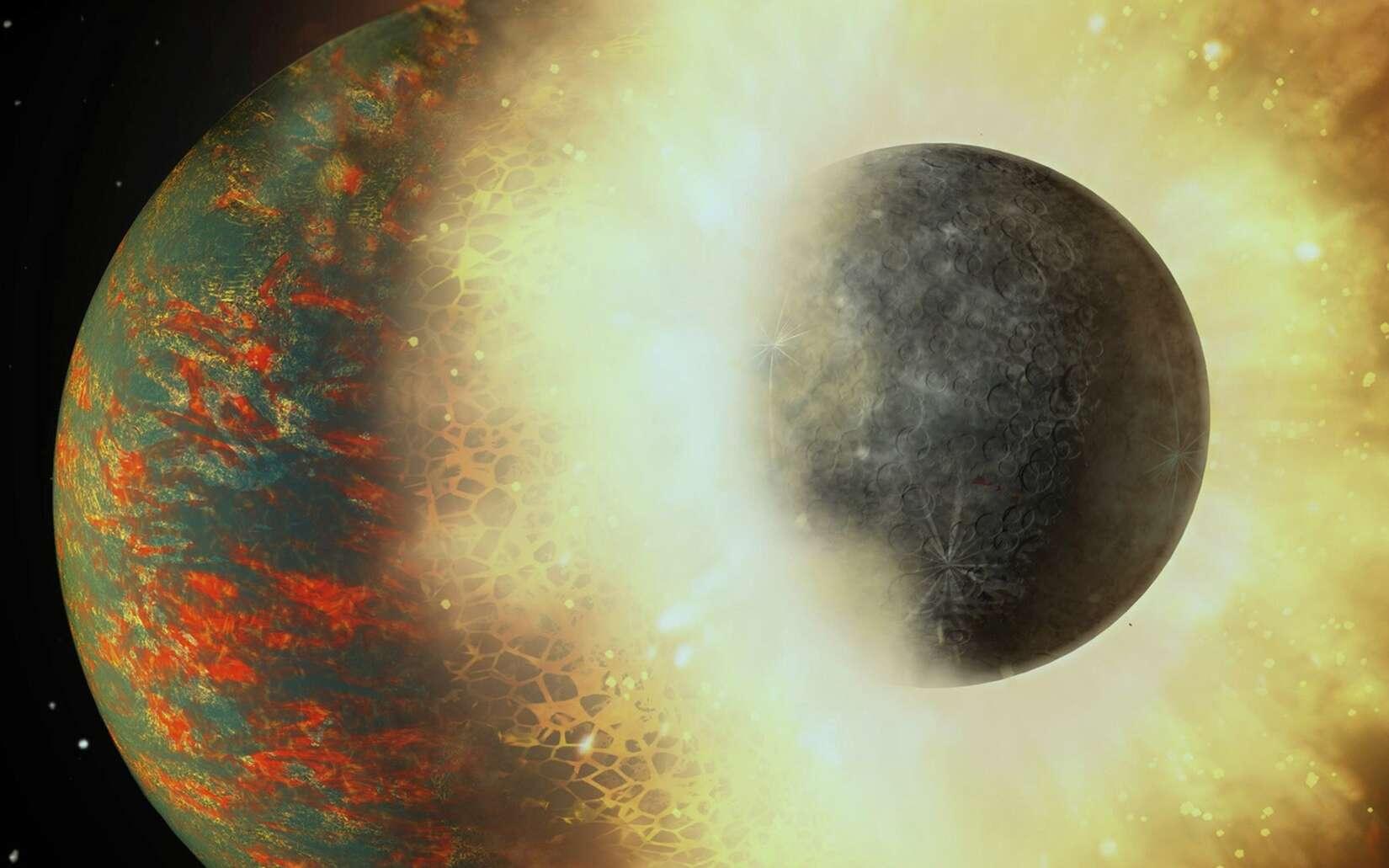 Dans sa prime jeunesse, environ 100 millions d'années après sa naissance, la Terre serait entrée en collision avec une protoplanète comparable à Mercure. © A. Passwaters, Rice University, Nasa, JPL-Caltech