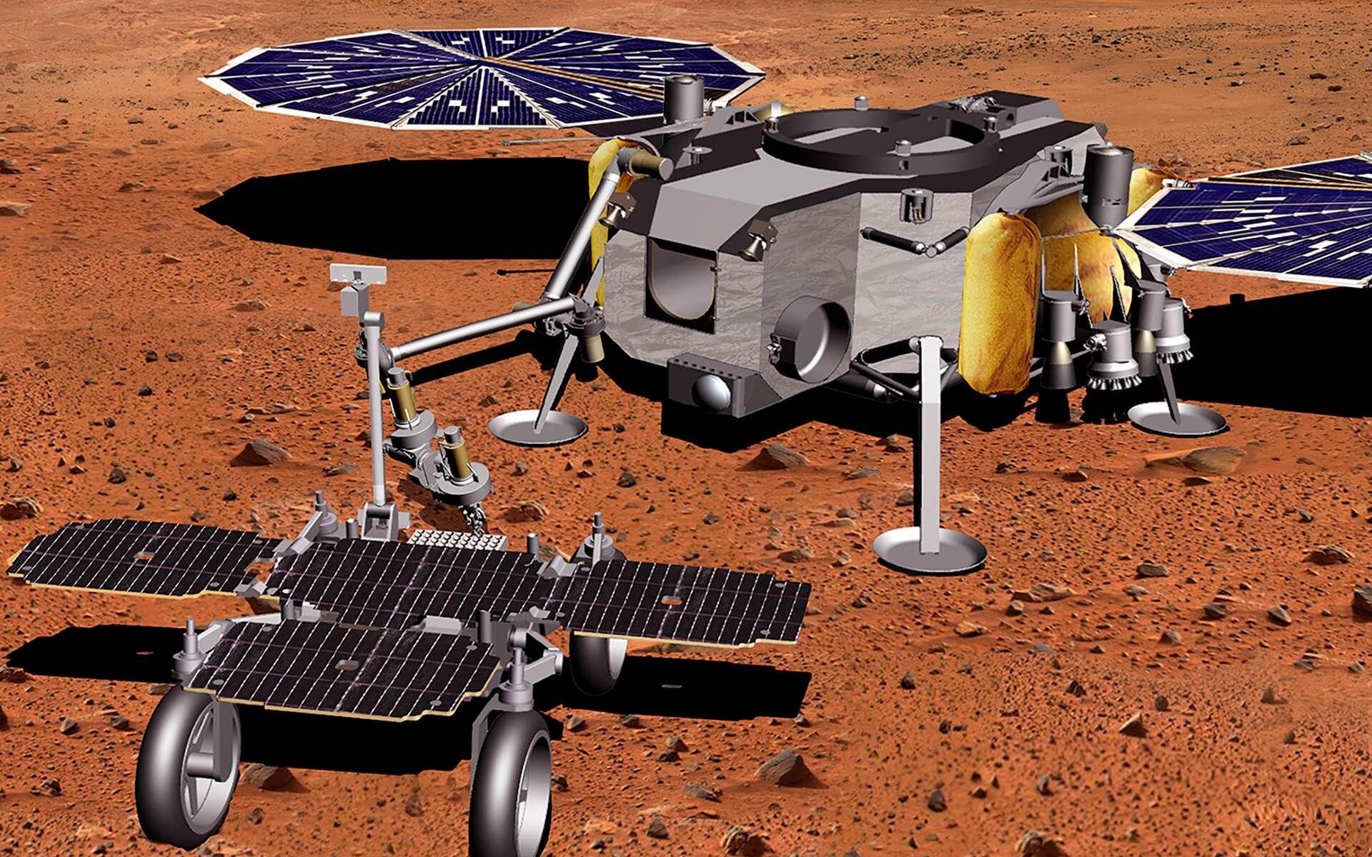 Vue d'artiste du Fetch rover de la mission de retour d'échantillons martiens de la Nasa et de l'ESA. Ce rover, réalisé par Airbus, devra récupérer les échantillons collectés par le rover Perseverance de la Nasa, puis de les apporter au MAV qui les enverra en orbite martienne. © Nasa, JPL