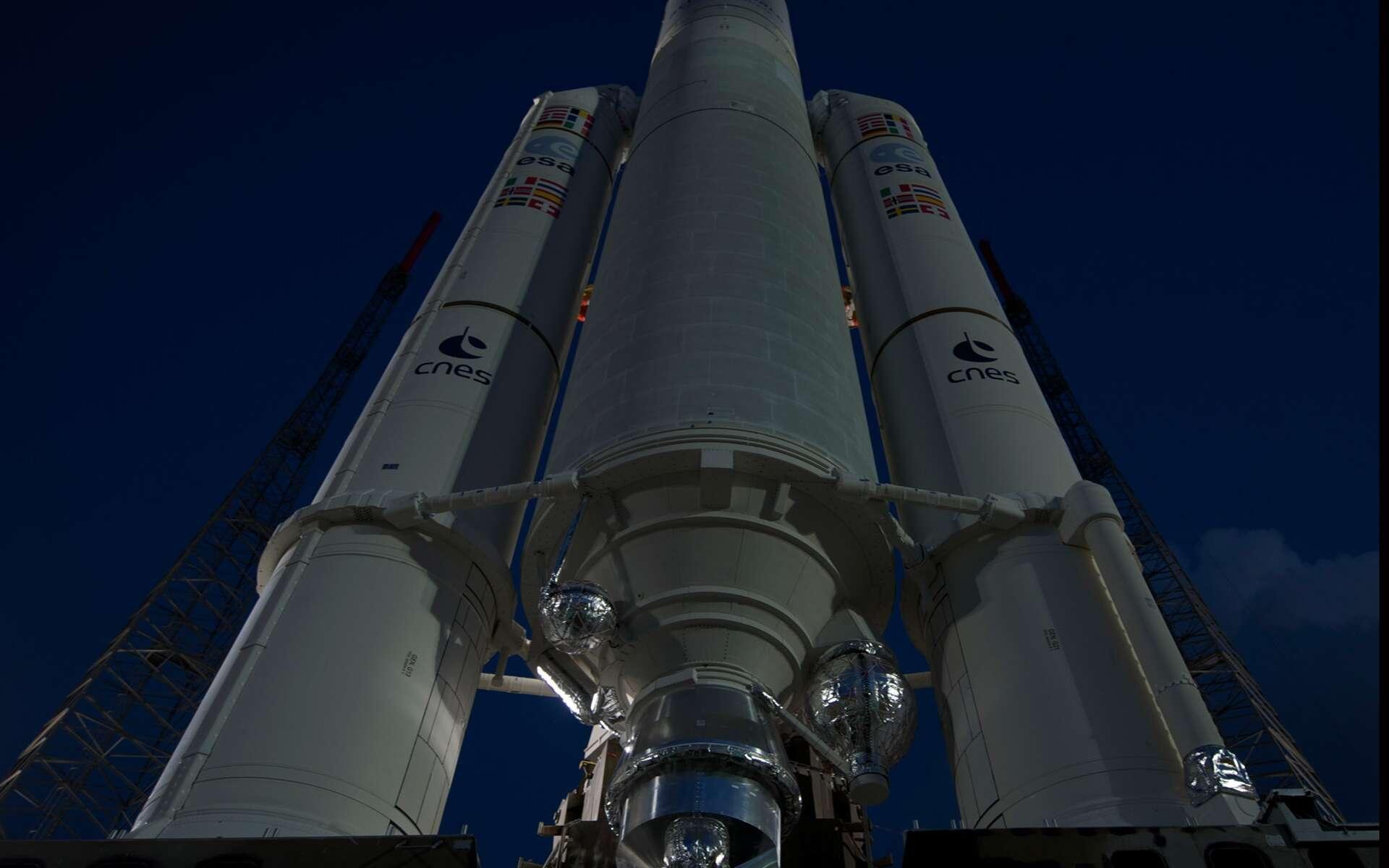 Ce premier vol de l'année d'une Ariane 5, sur les six prévus, sera le 68e lancement d'une Ariane 5 et la 212e mission d'Arianespace. Il intervient après une série de 53 succès consécutifs du lanceur Ariane 5. © S. Corvaja, Esa