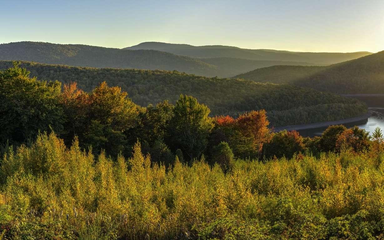 Paysage de la région des Catskills, dans le nord de l'État de New York (États-Unis), où se situe sur un site de Gilboa, la plus vieille forêt fossile. © lightphoto2, Adobe Stock