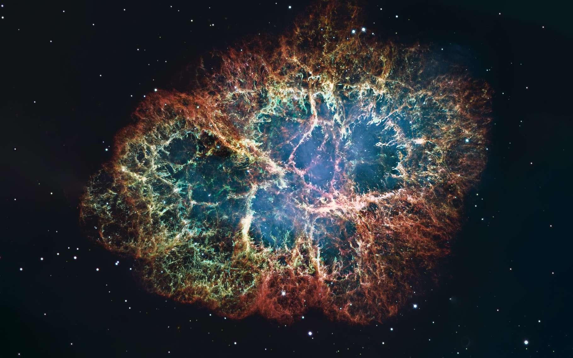 La nébuleuse du Crabe (Messier 1 ou M1) est un rémanent de supernovae. Des chercheurs de l'université de l'État du Michigan (MSU, États-Unis) avancent aujourd'hui que le carbone pourrait se former bien plus rapidement qu'on le pensait au cœur de tels objets. © allexxandarx, Adobe Stock