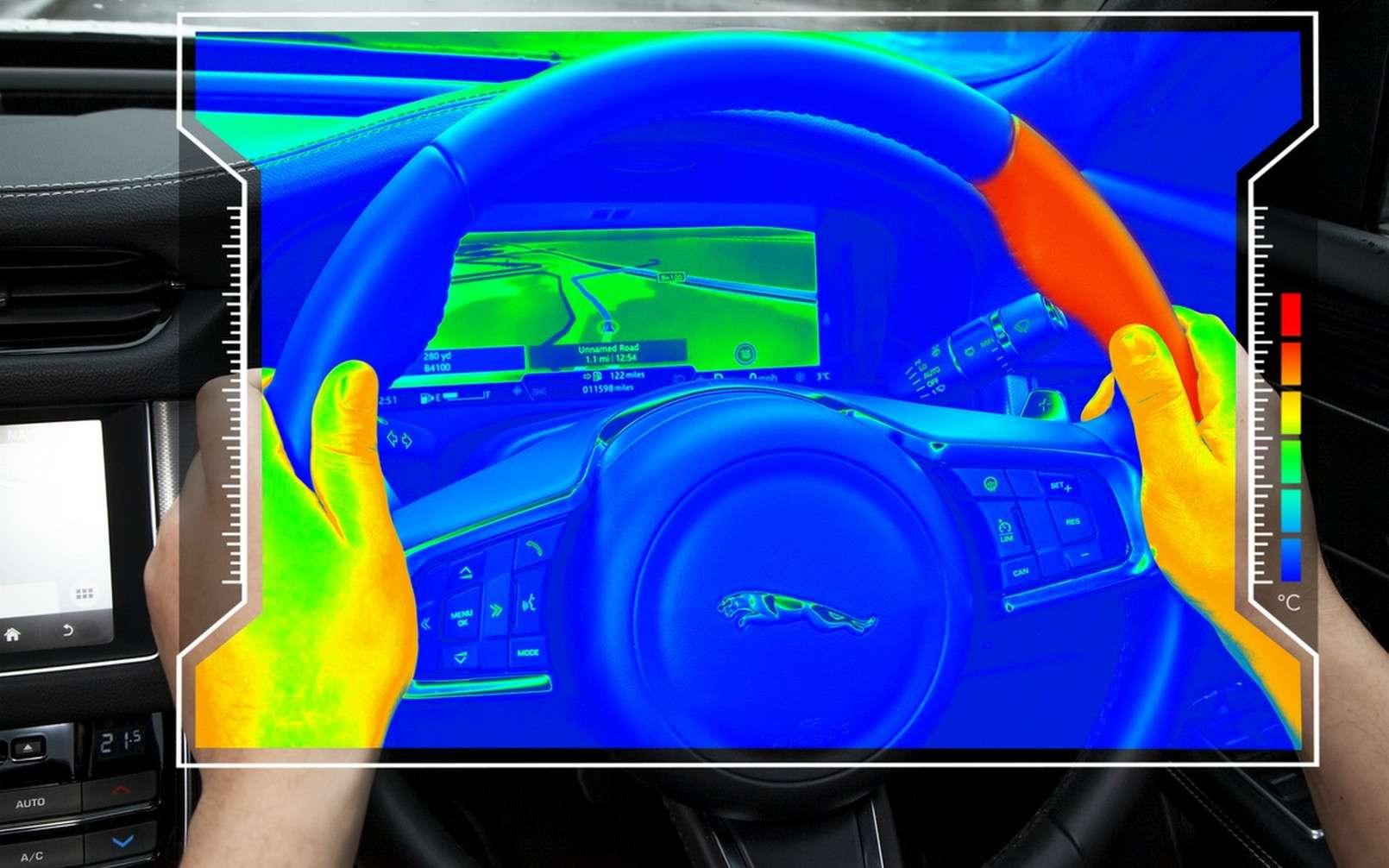 Le volant sensoriel de Jaguar Land Rover. © Jaguar Land Rover
