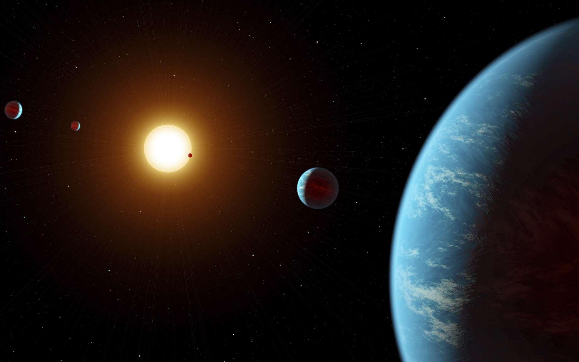 Vue d'artiste du système de K2-138. © JPL-Caltech, R. Hurt, IPAC