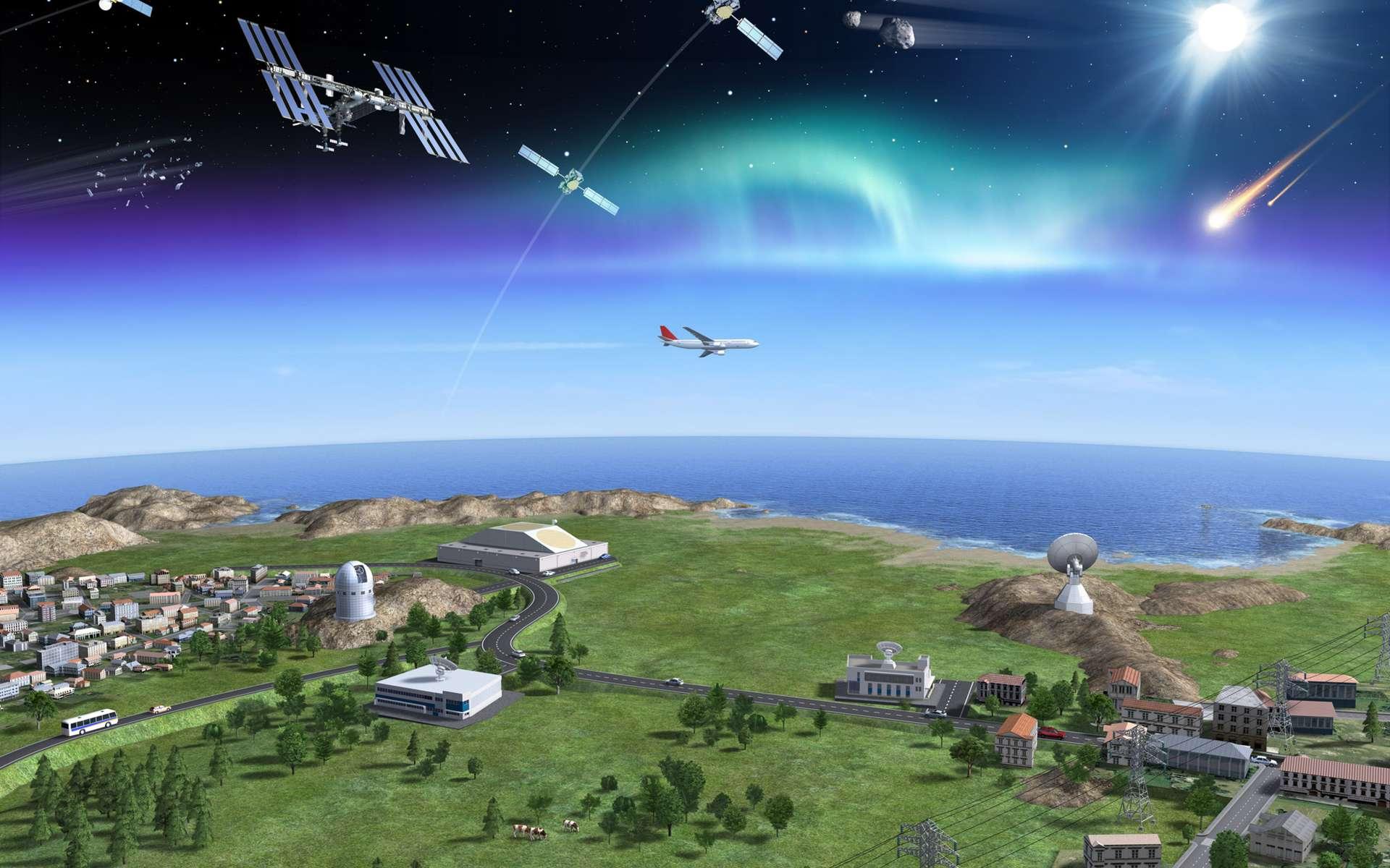 La surveillance de l'espace s'appuie sur des radars et des télescopes. Les radars sont très efficaces pour caractériser les objets artificiels en orbite basse, de 250 à 1.200 km d'altitude. Au-delà, et jusqu'à 36.000 km, les télescopes optiques sont plus adaptés. © P. Carill, Esa