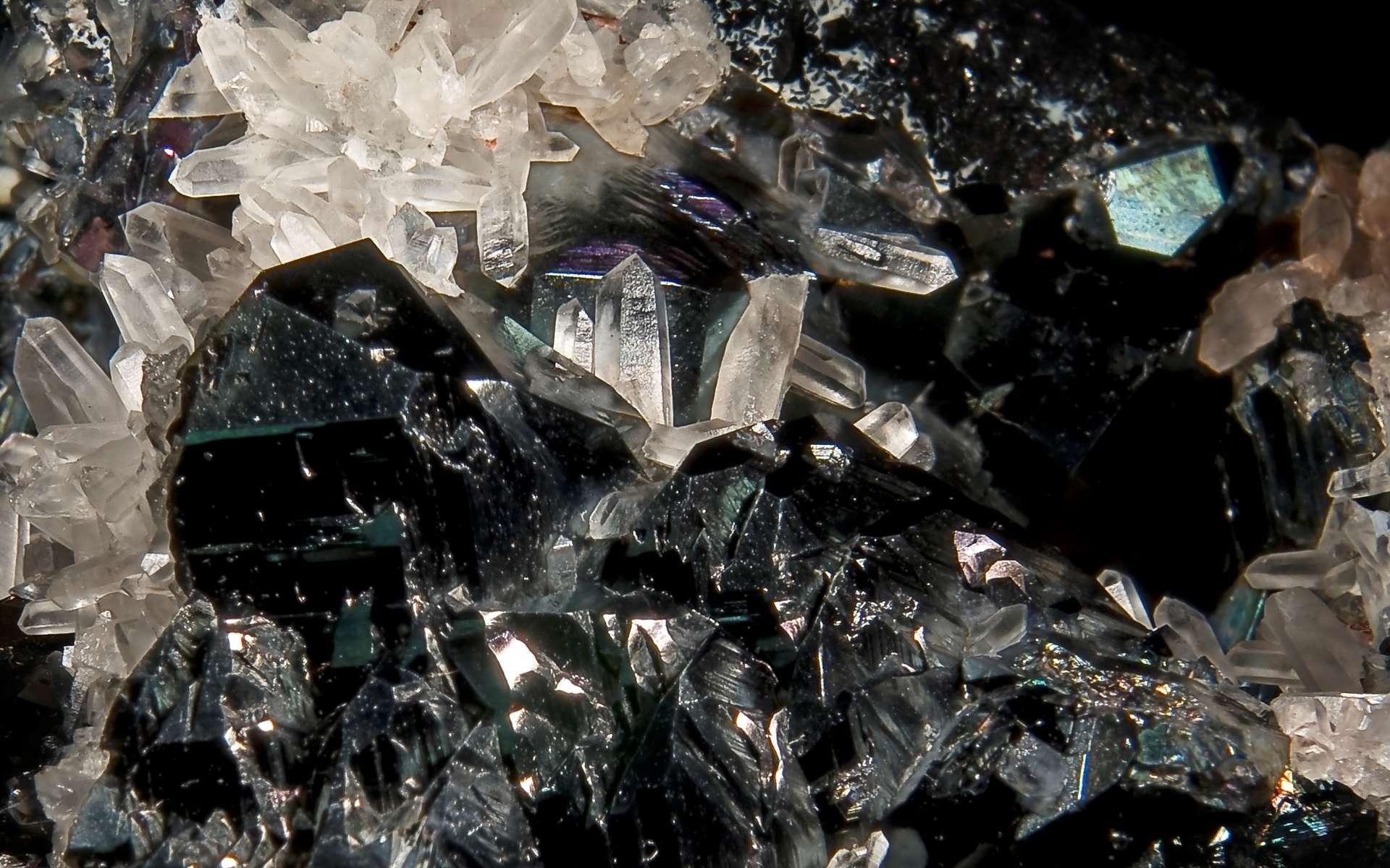 Les cristaux noirs sont constitués d'hématite (Spécularite). © Didier Descouens, Wikipédia, CC by-sa 4.0