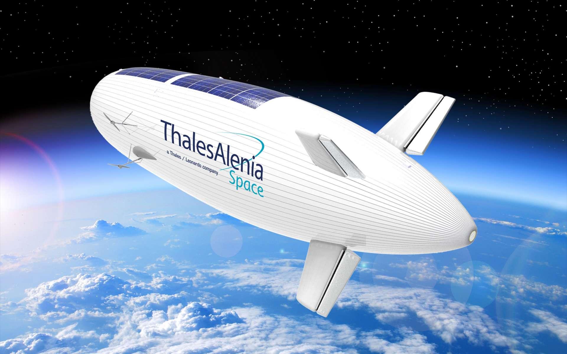 Stratobus, le dirigeable stratosphérique de Thales Alenia Space, peut être vu comme le « chaînon manquant » entre les drones et les satellites. © Thales Alenia Space