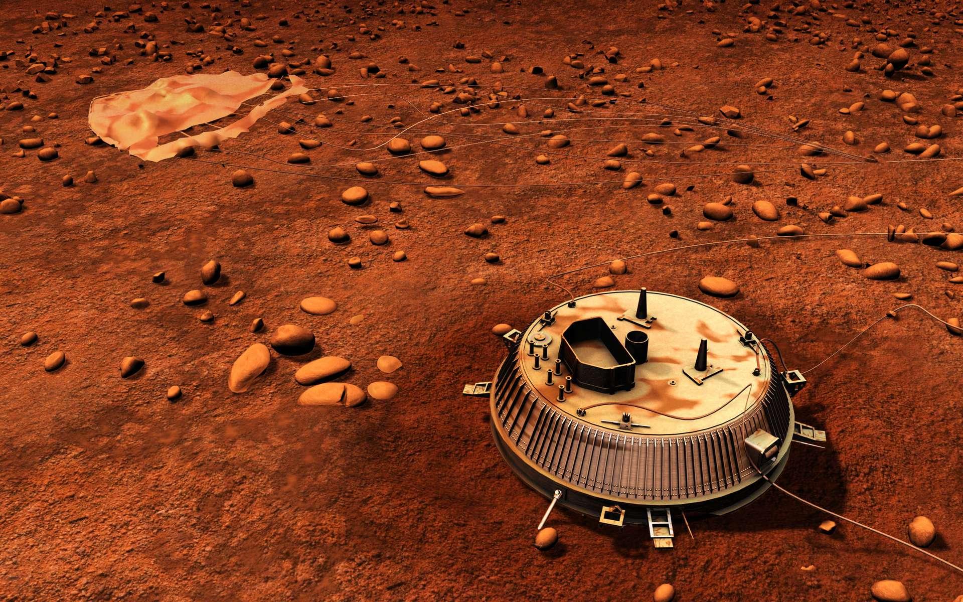 Une vue d'artiste de Huygens sur Titan. Cela fait 10 ans que le module de l'Esa a touché le sol de la planète et transmet brièvement quelques images. © Esa, C. Carreau