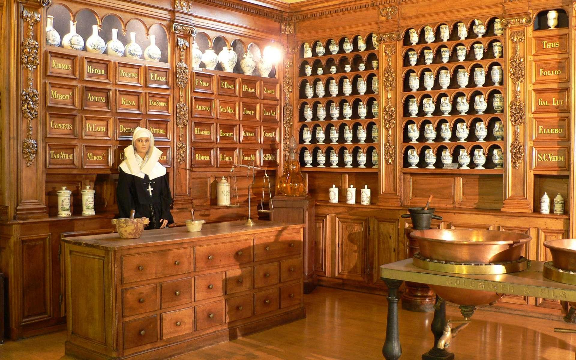 Reconstitution de l'apothicairerie de l'Hôtel-Dieu de Lyon, construite vers 1673. Musée des hospices civils de Lyon. © Wikimedia Commons, domaine public