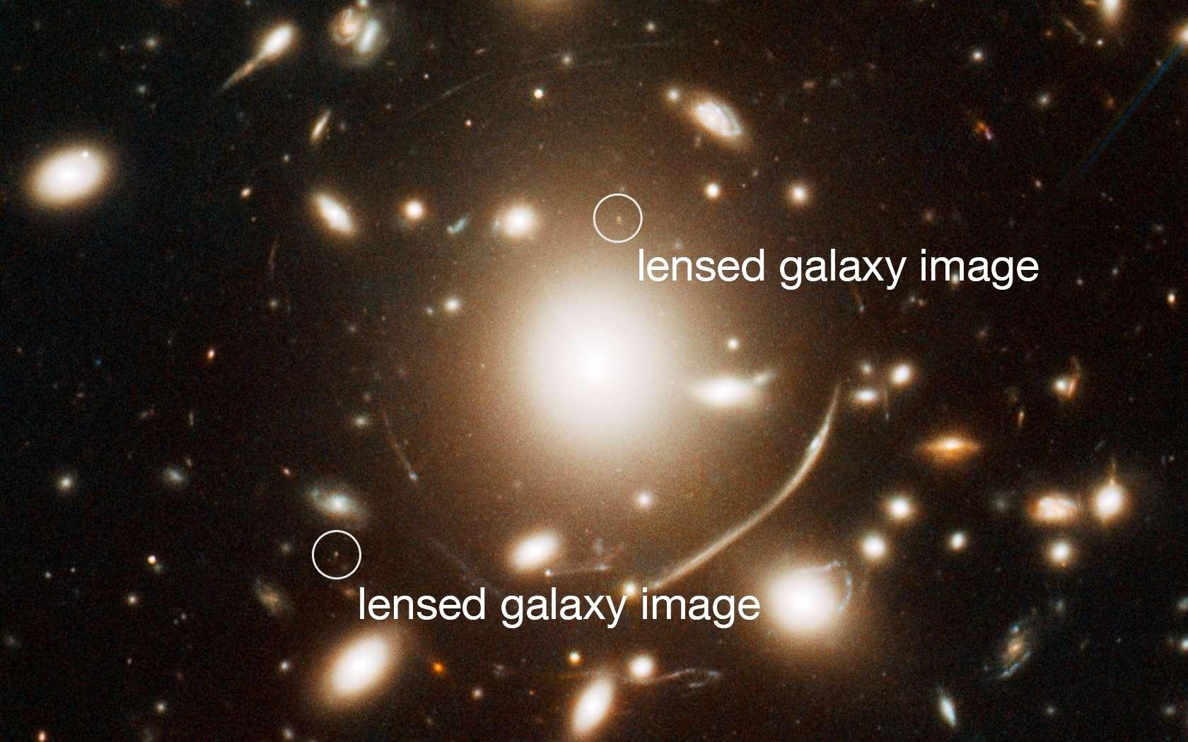 Les amas de galaxies massifs déforment l'espace-temps et sont donc capables de dévier et amplifier la lumière des galaxies lointaines d'arrière-plan. Les amas peuvent alors agir comme une loupe pour certaines galaxies bien alignées et permettent ainsi d'identifier des galaxies qui ne seraient pas visibles autrement. En observant l'amas de galaxie Abell 383 une équipe d'astronomes a identifié une galaxie si lointaine que nous la voyons alors que l'univers n'avait que 950 millions d'années. Elle est visible comme deux petits points (marqués) de chaque côté de la galaxie centrale de l'amas. Sur cette photographie prise par le télescope spatial Hubble, on identifie aussi d'autres images de galaxies fortement déformées apparaissant comme des arcs, mais plus proches que la paire de galaxies identifiée. © Nasa, Esa, J. Richard (CRAL) and J.-P. Kneib (LAM)