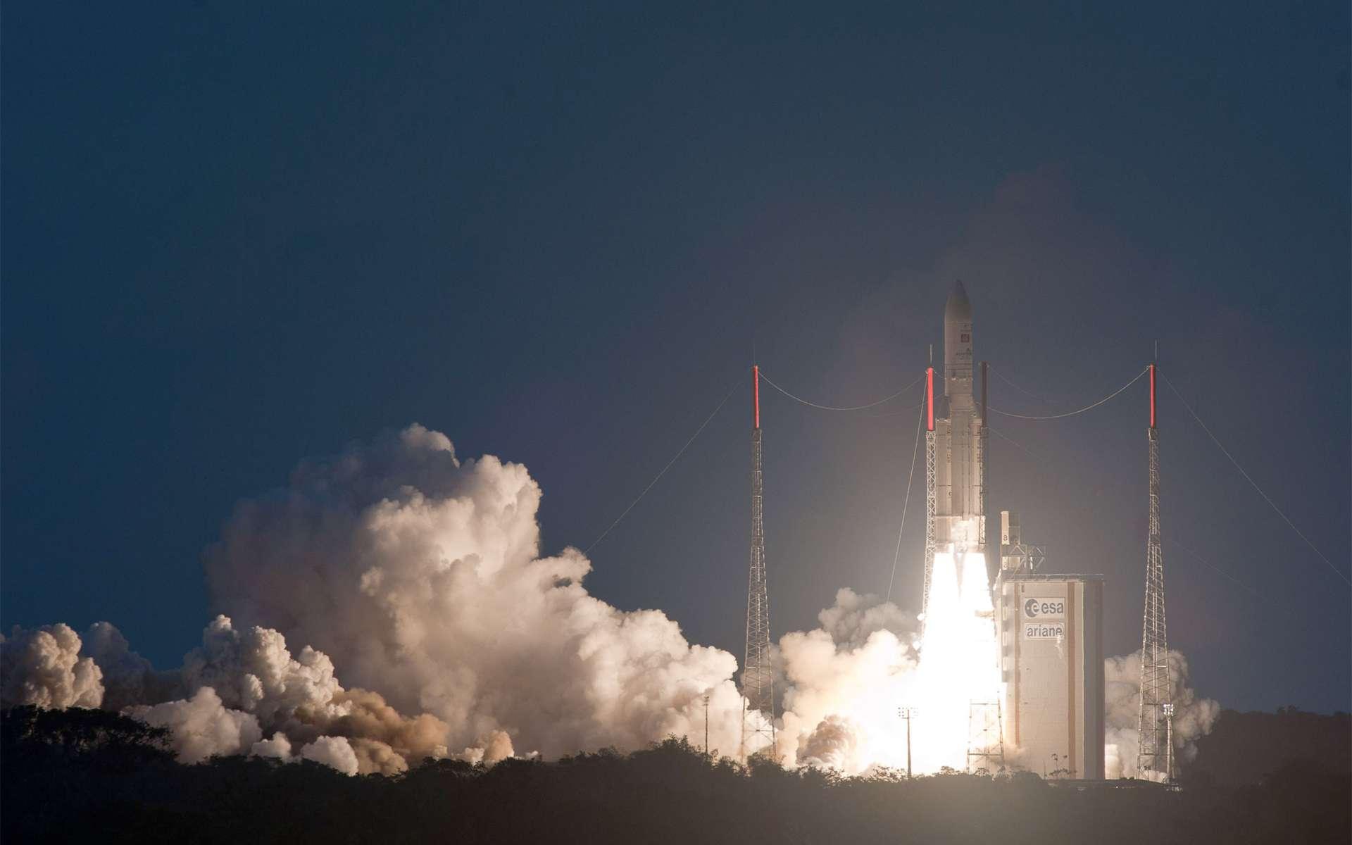 Un lanceur Ariane 5 au décollage depuis son pas de tir du Centre spatial guyanais. © 2012 Esa/Cnes/Arianespace & Photo Optique Vidéo CSG
