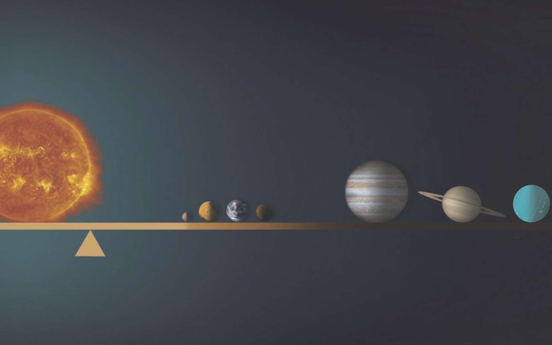 Le centre de gravité du système solaire n'est pas situé au centre du Soleil, mais un peu à l'extérieur de sa surface. © Tonia Klein, NANOGrav Physics Frontier Center