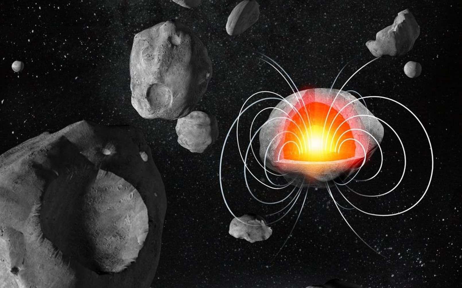 Une vue d'artiste des planétésimaux à l'aube de la naissance des planètes du Système solaire. Certains devaient posséder un noyau fondu métallique générant un champ magnétique à l'instar de la géodynamo de la Terre. © Daderot, DP