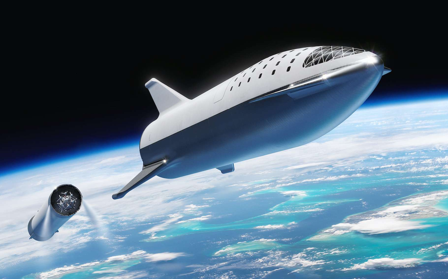 Pendant le sommet Humans to Mars, Elon Musk a précisé que le Starship devrait réaliser des « centaines de missions avant d'embarquer des humains à destination de Mars ». © SpaceX, Wikipedia, CC0