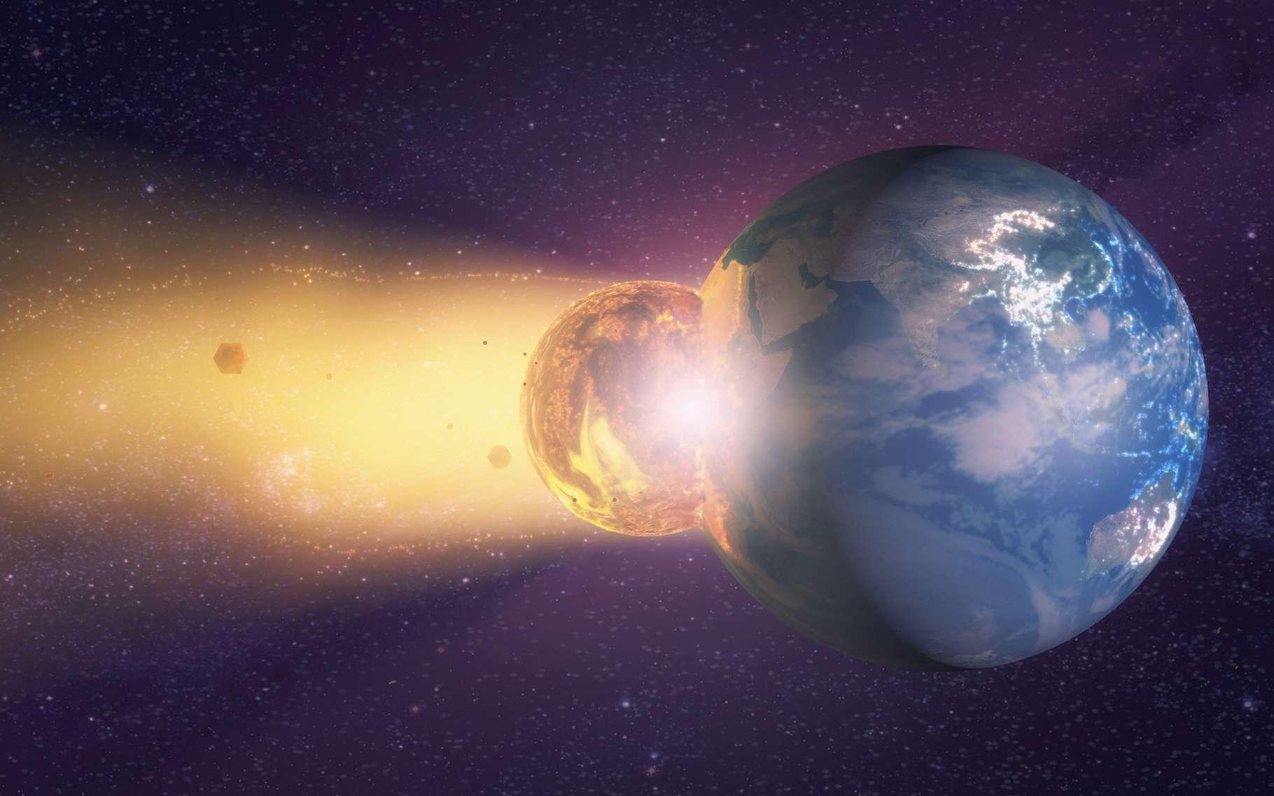 D'après les simulations de chercheurs de l'université de Durham (Royaume-Uni), notre Terre a pu perdre jusqu'à 60 % de son atmosphère dans la collision qui a donné naissance à la Lune. © Miguel Aguirre, Adobe Stock