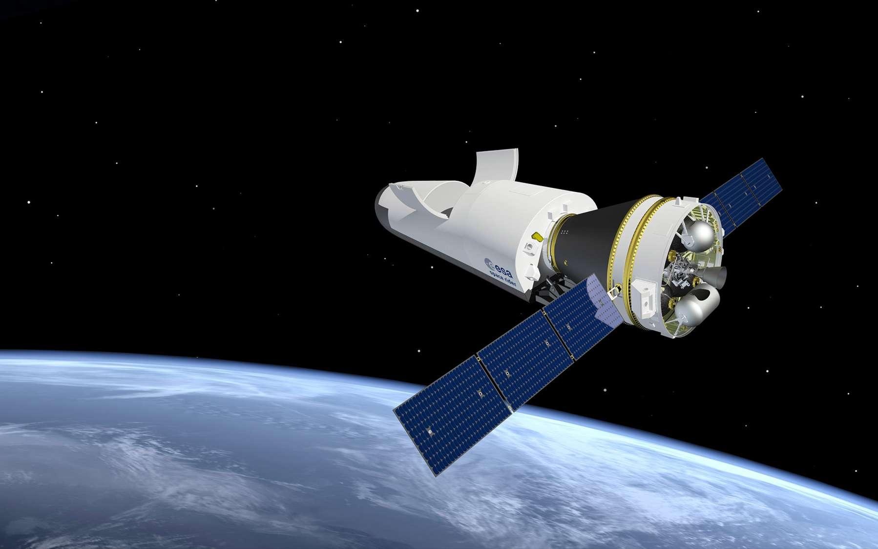 Le Space Rider est présenté comme un avion spatial inédit. C'est le projet de corps portant qu'étudient l'Agence spatiale européenne (ESA), Thales Alenia Space et ELV SpA pour succéder à l'IXV à l'horizon 2021. © J. Huart, ESA